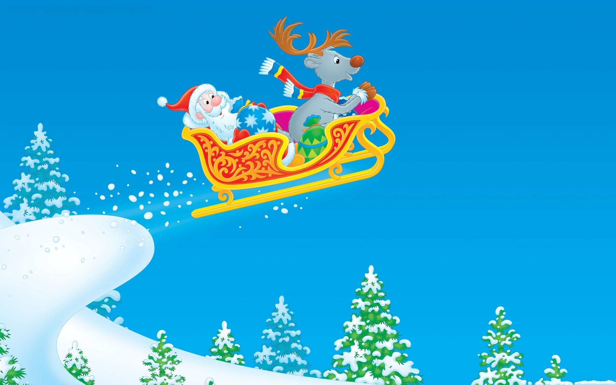 Christmas santa claus reindeer HD Wallpaper