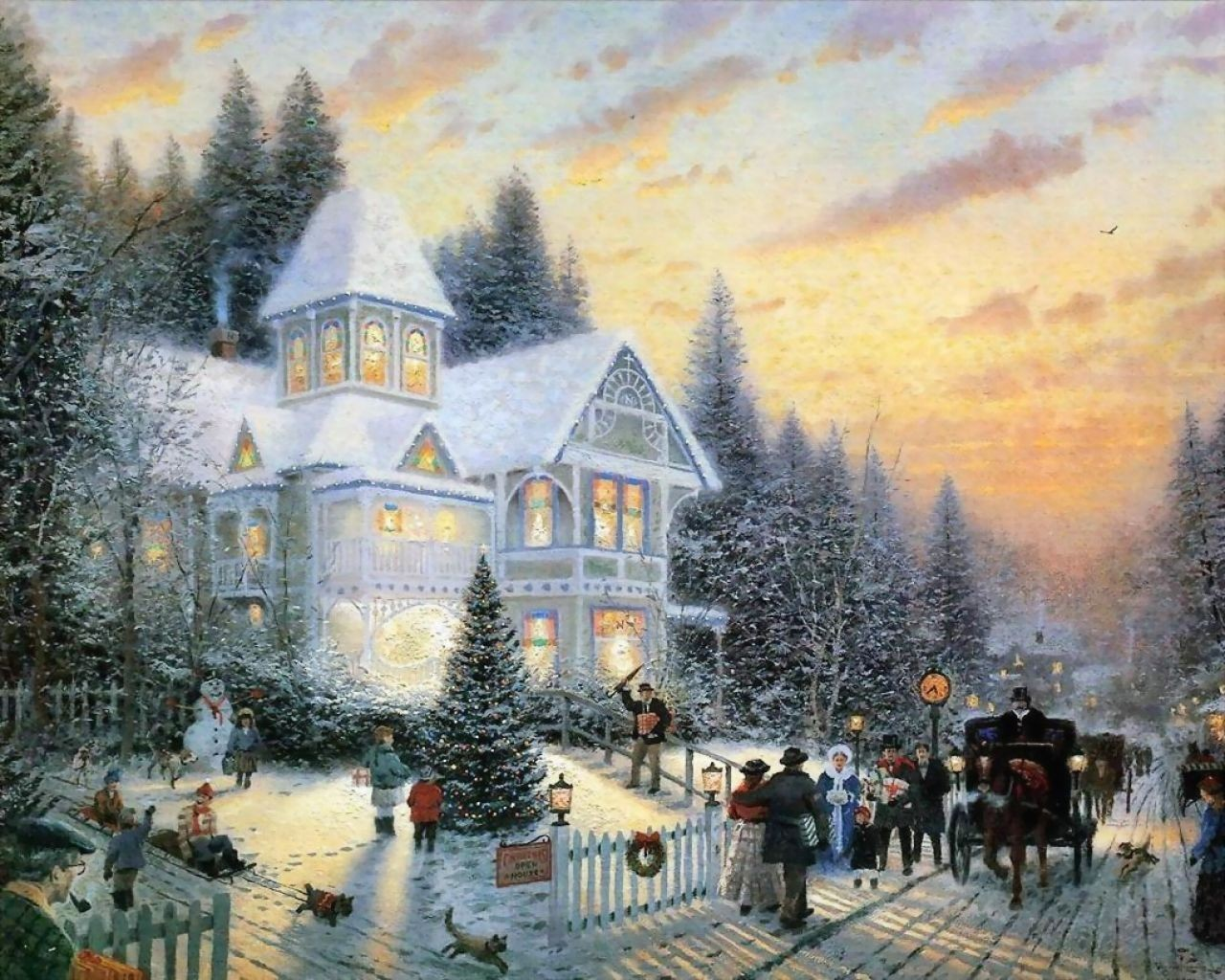Christmas Thomas Kinkade Christmas HD Wallpaper