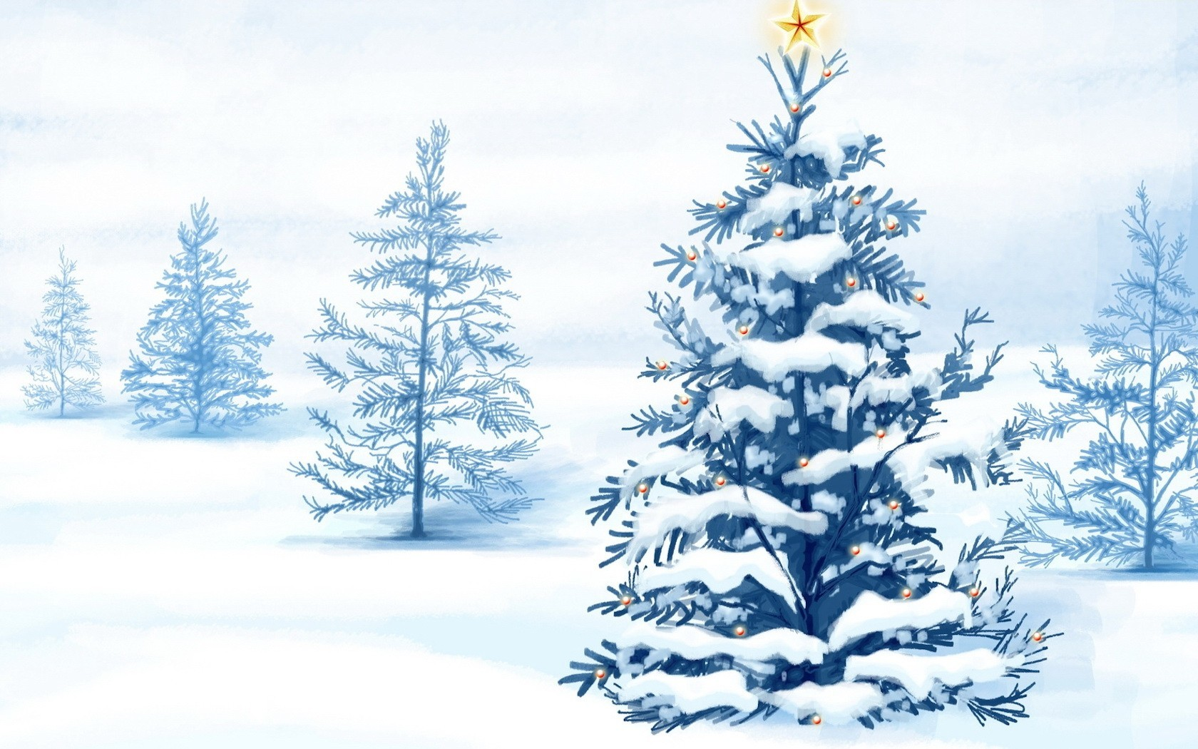 Christmas trees snow landscapes HD Wallpaper