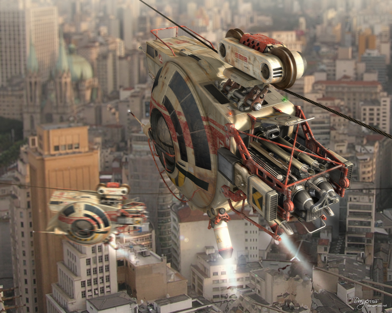 City post Art sci-fi HD Wallpaper