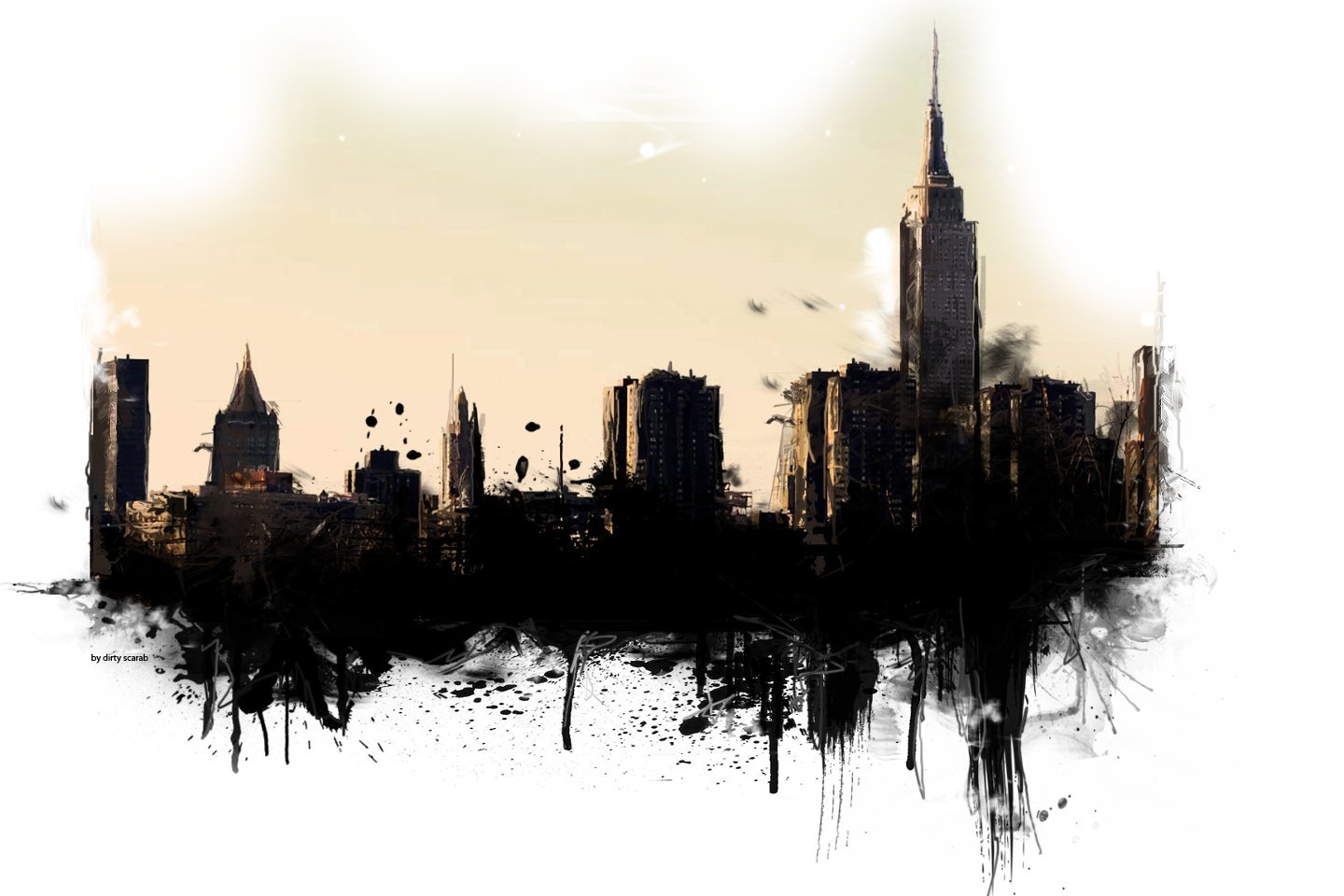 cityscape painting artwork reflected HD Wallpaper
