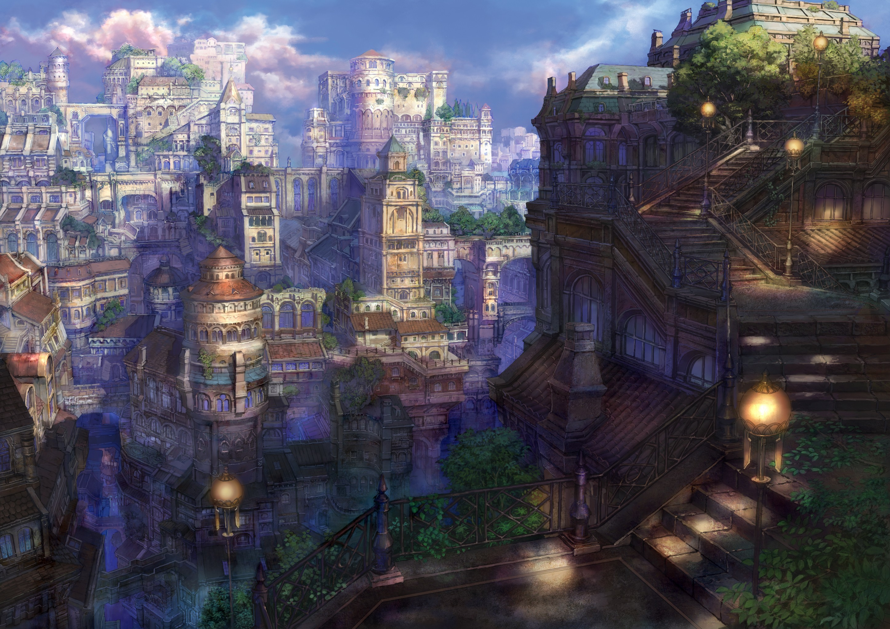cityscapes artwork Anime munashichi HD Wallpaper