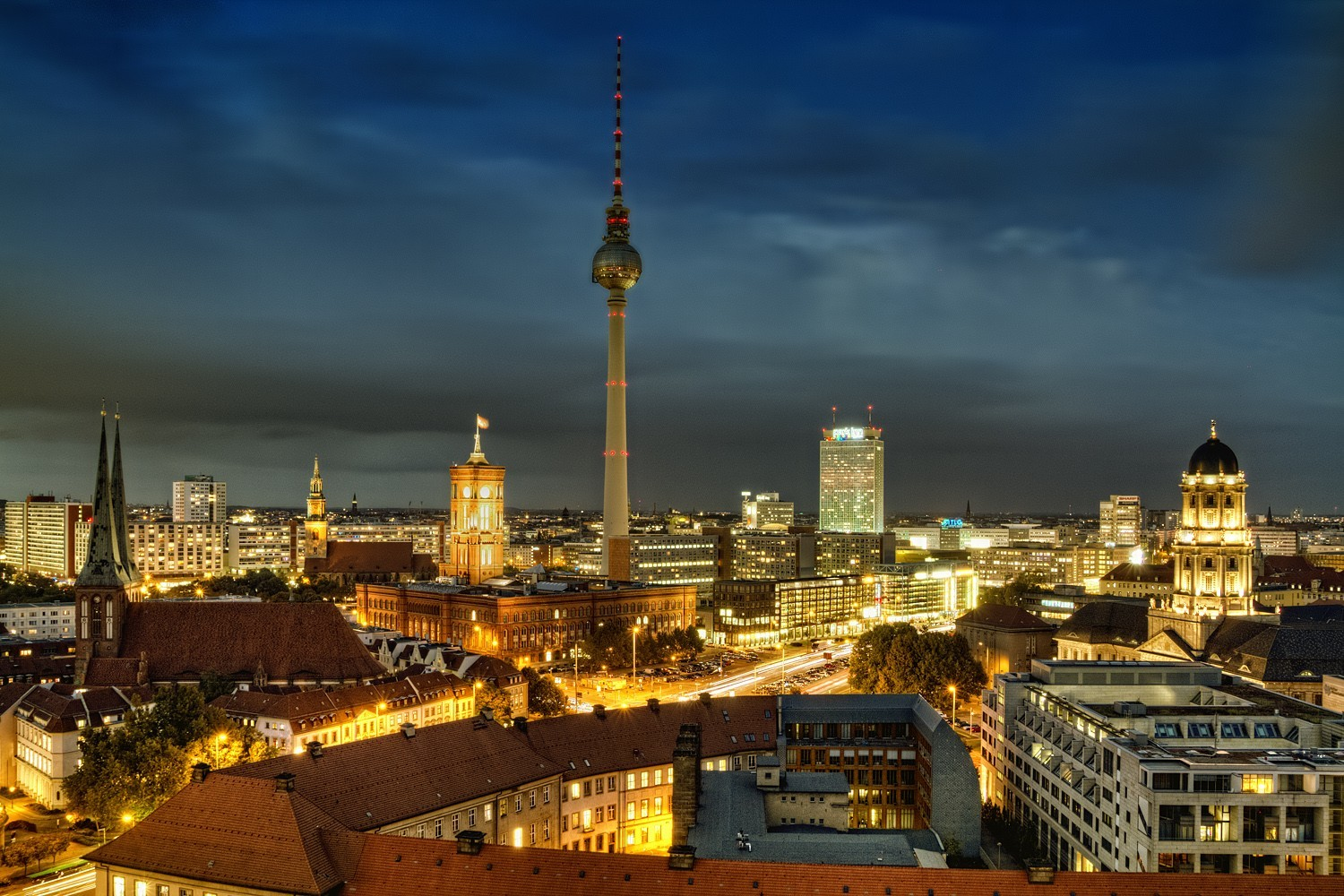 cityscapes Berlin City Lights HD Wallpaper