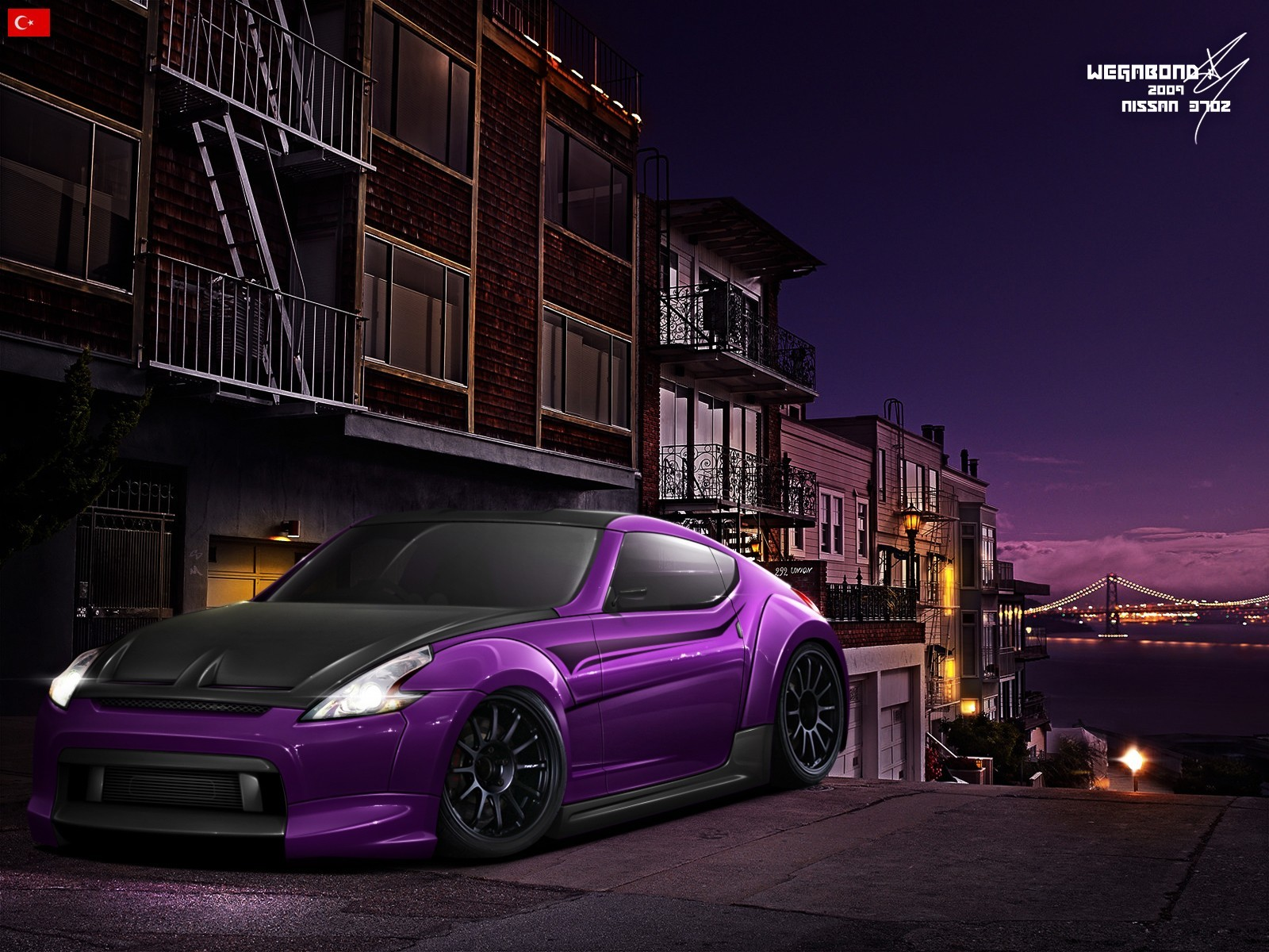cityscapes cars purple tuning HD Wallpaper
