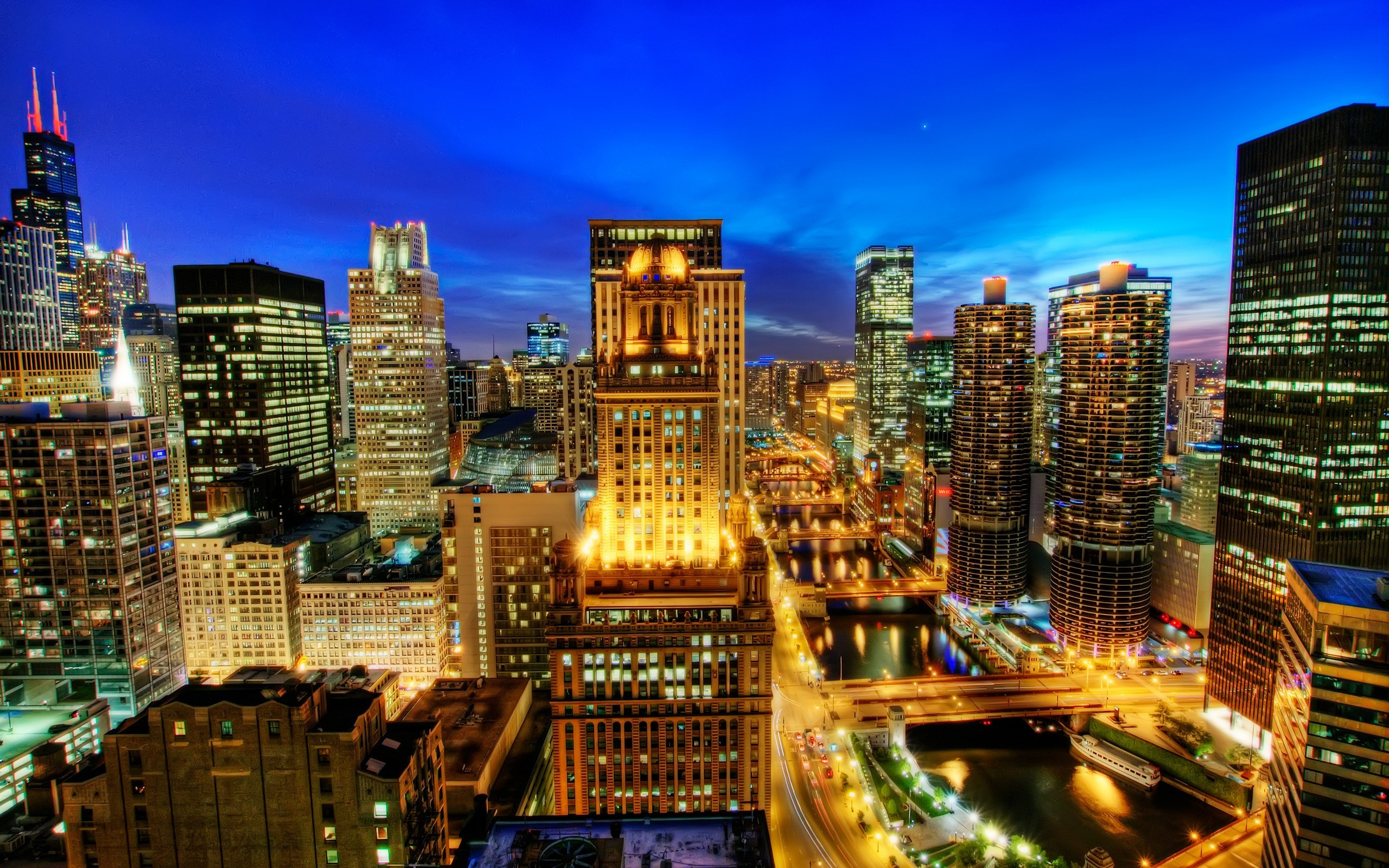 cityscapes Chicago night cities HD Wallpaper