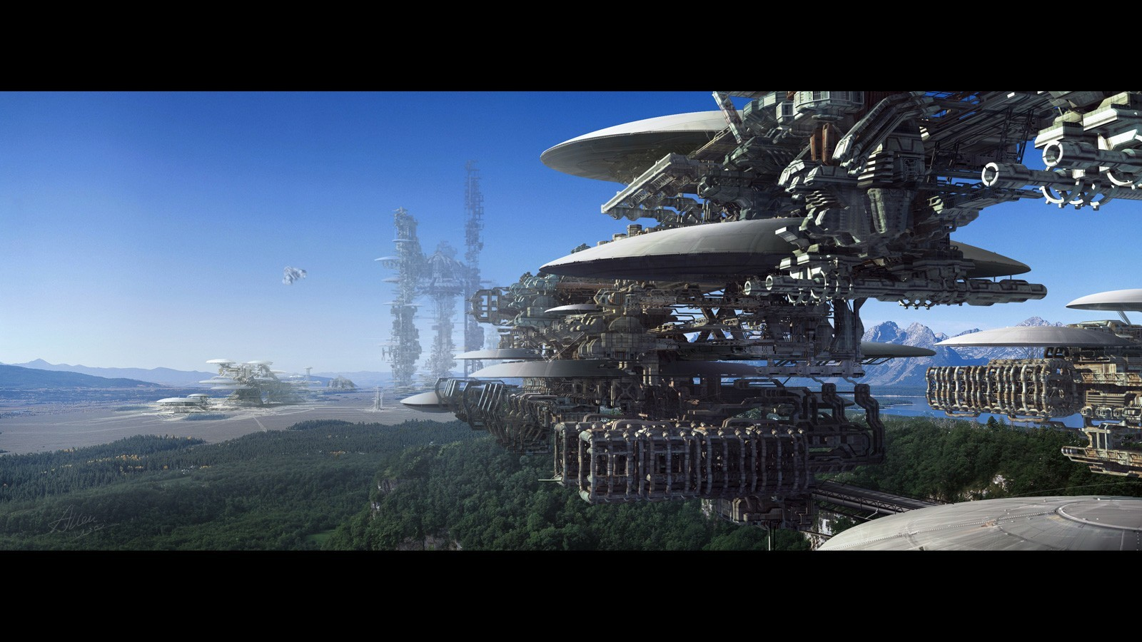 cityscapes futuristic forests digital