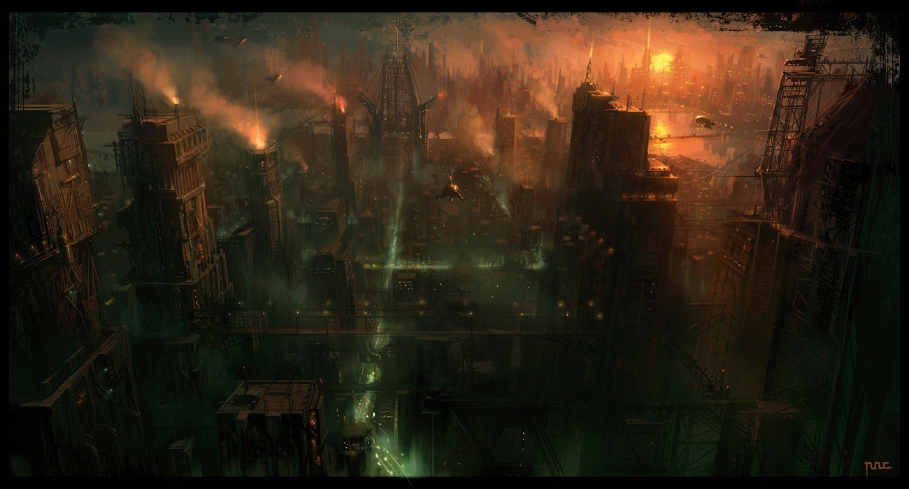 cityscapes futuristic Industrial spaceships HD Wallpaper