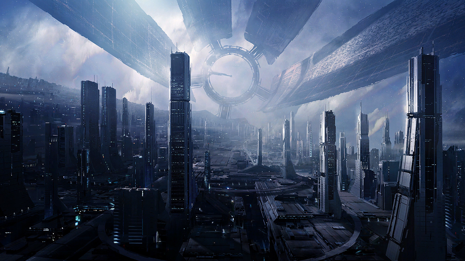 cityscapes futuristic mass effect