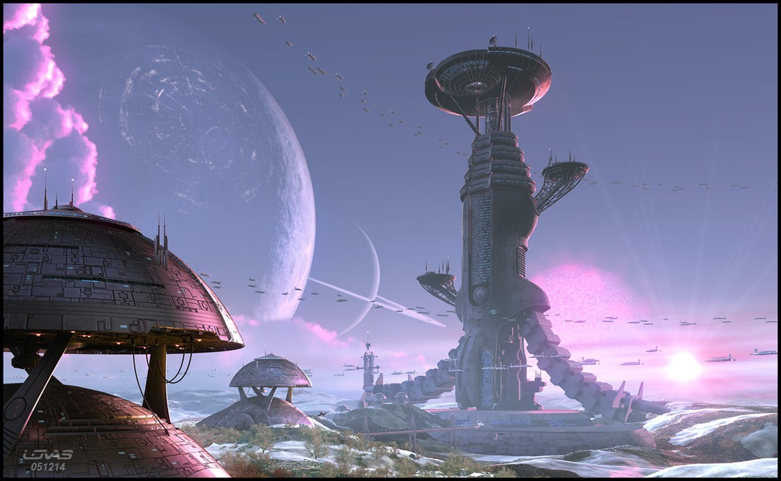 cityscapes futuristic planets spaceships HD Wallpaper