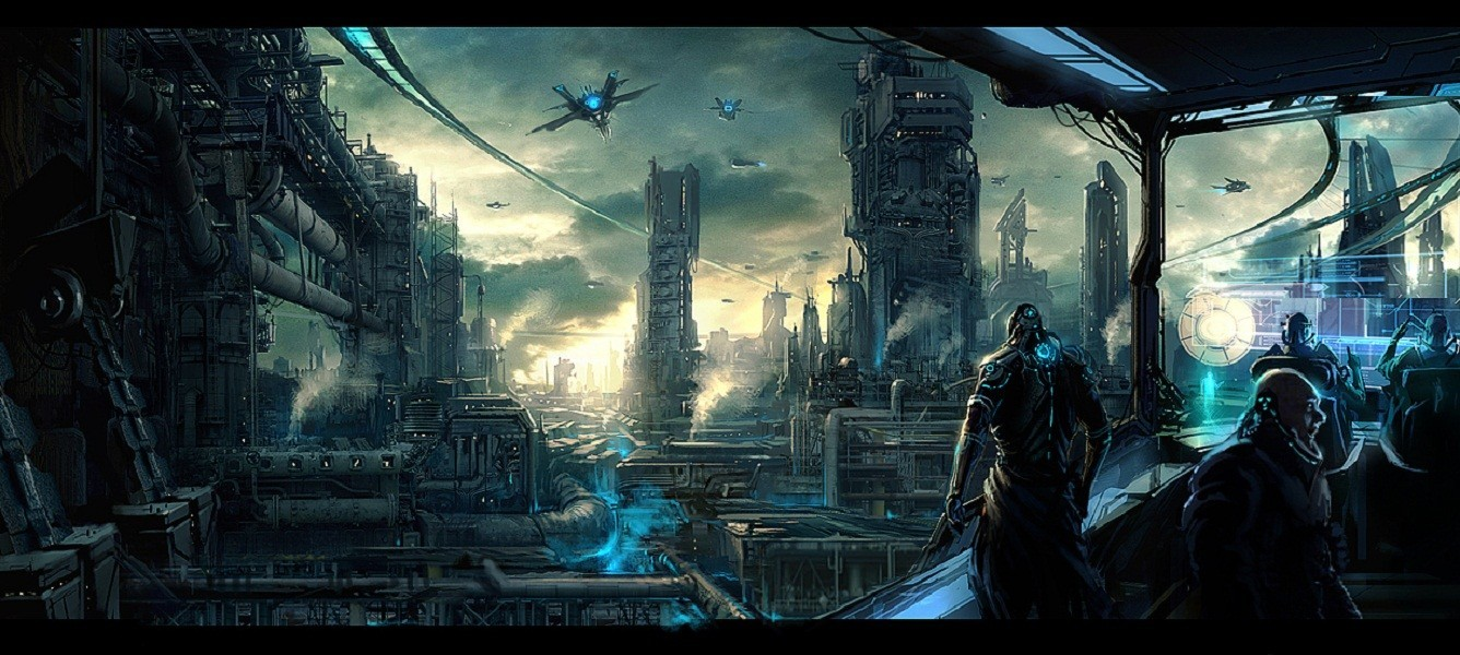 cityscapes futuristic spaceships vehicles HD Wallpaper