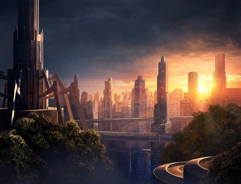 cityscapes lights futuristic urban HD Wallpaper