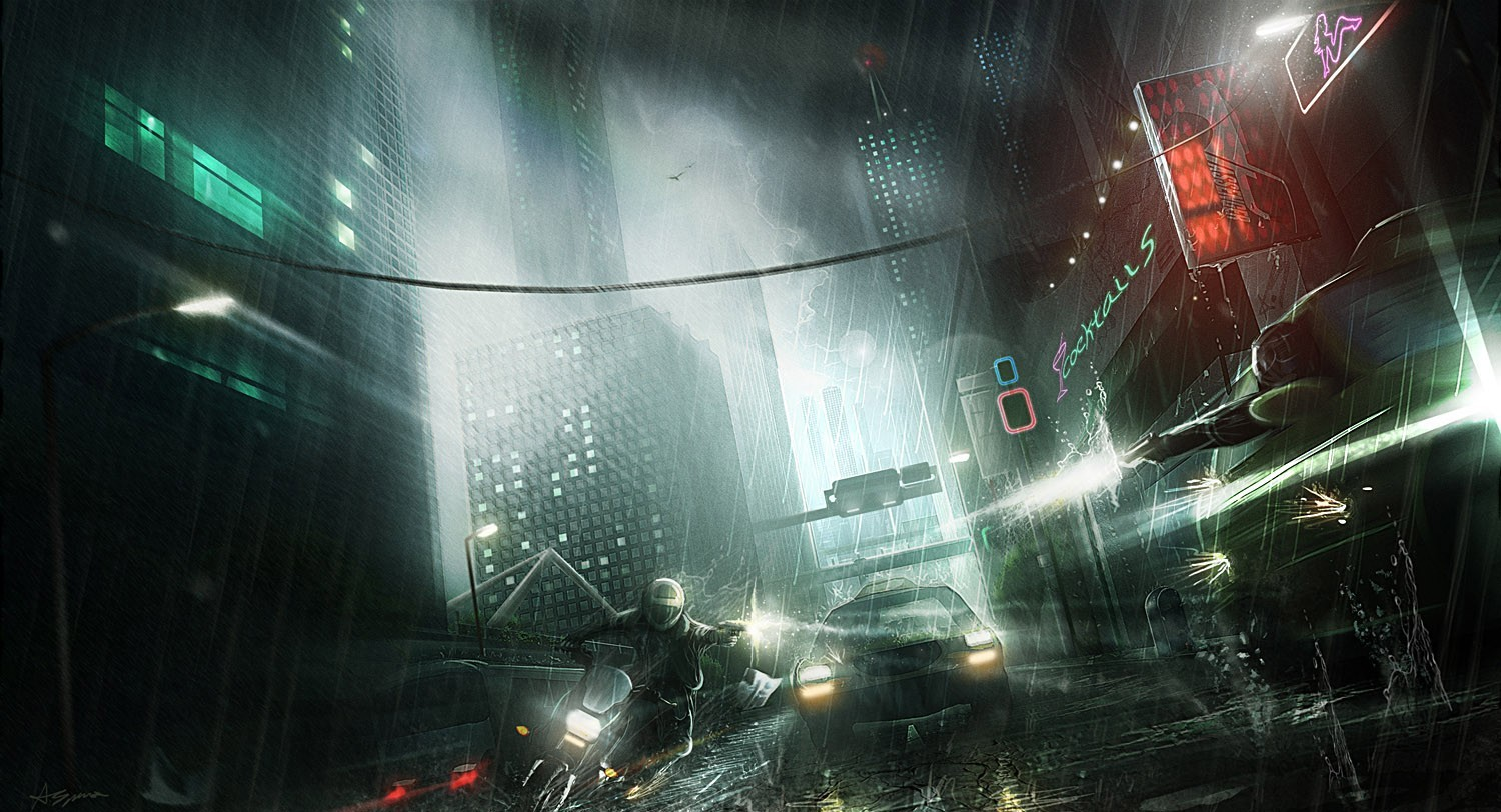 cityscapes rain futuristic digital HD Wallpaper