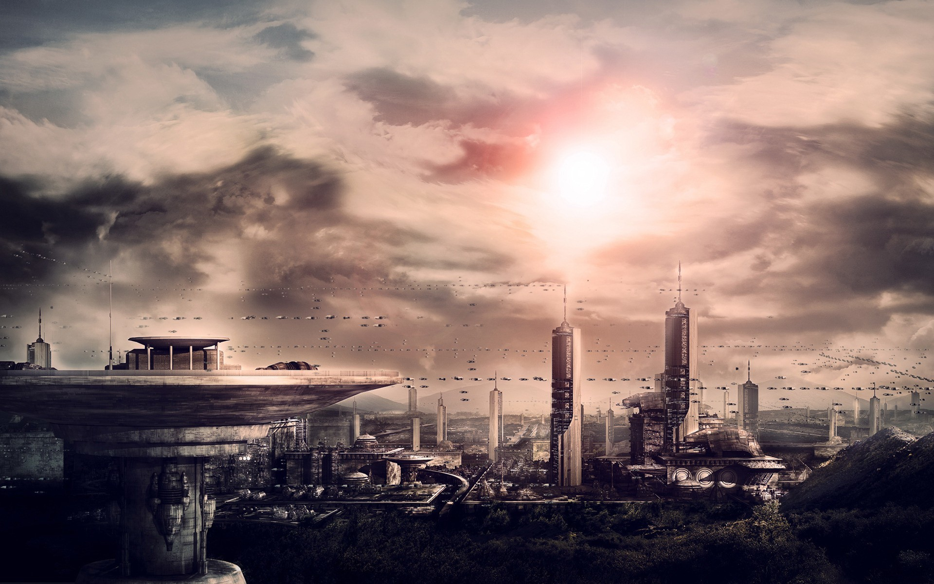 cityscapes science fiction futuristic HD Wallpaper