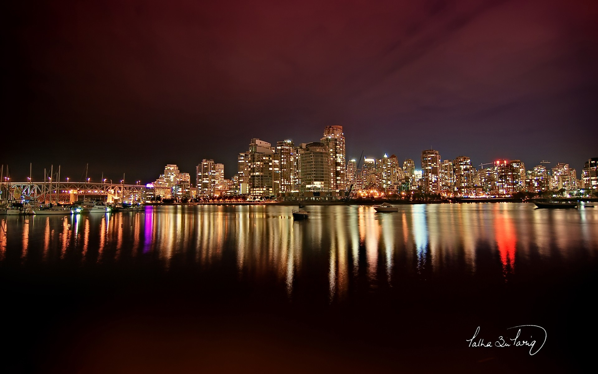 cityscapes skylines lights vancouver HD Wallpaper