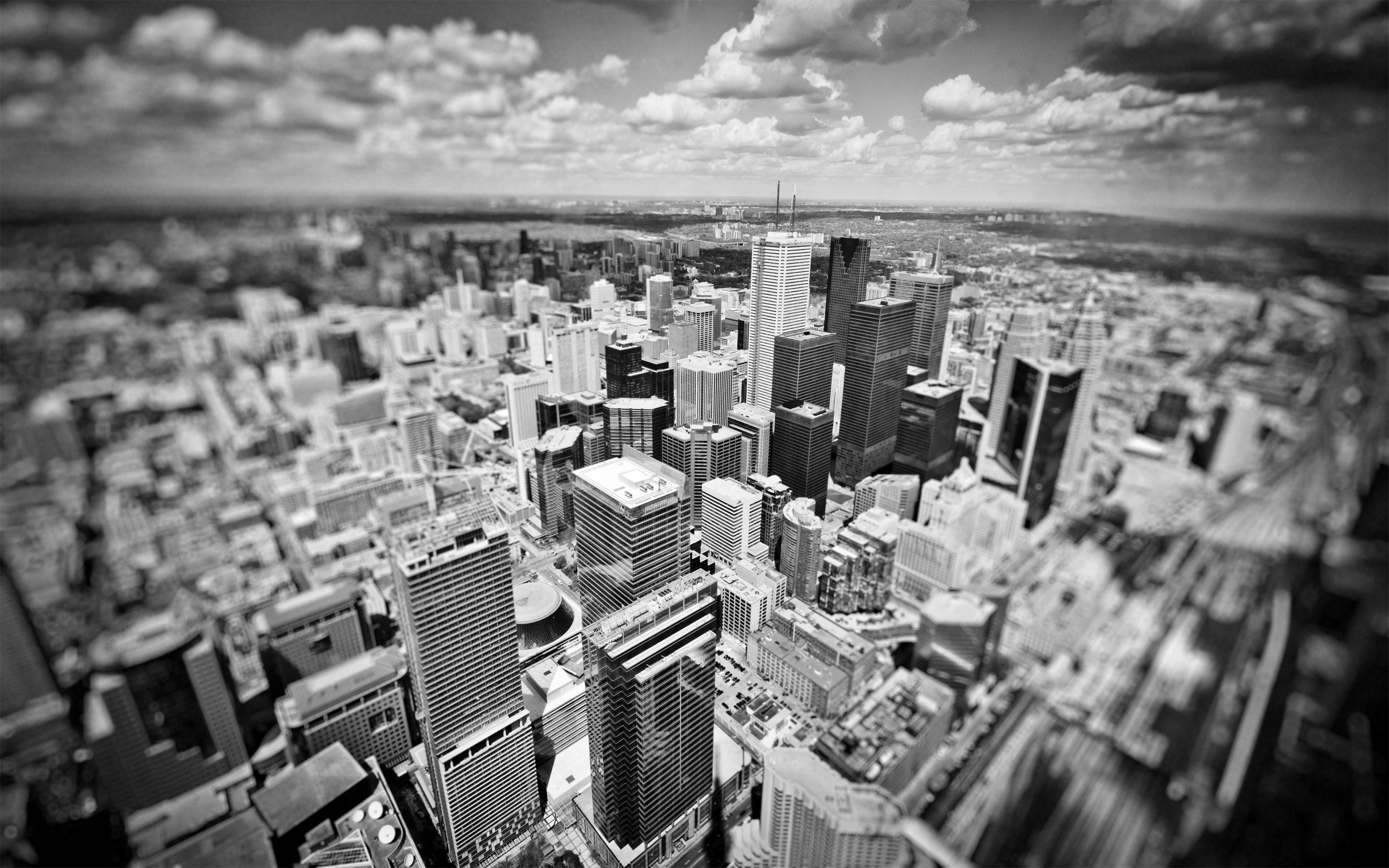 cityscapes Skyscrapers monochrome tilt-shift HD Wallpaper