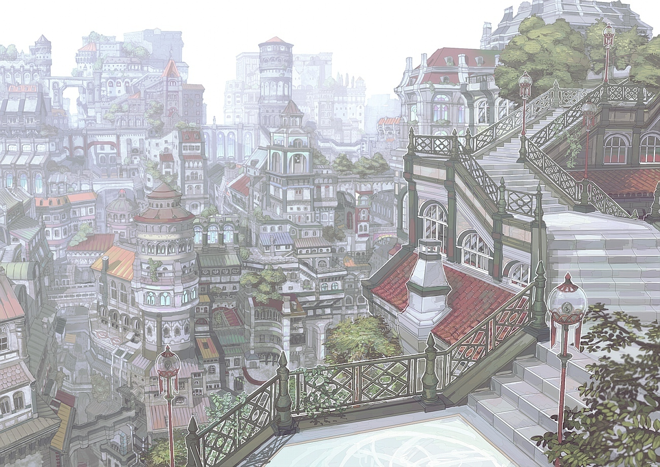 cityscapes stairways drawings HD Wallpaper