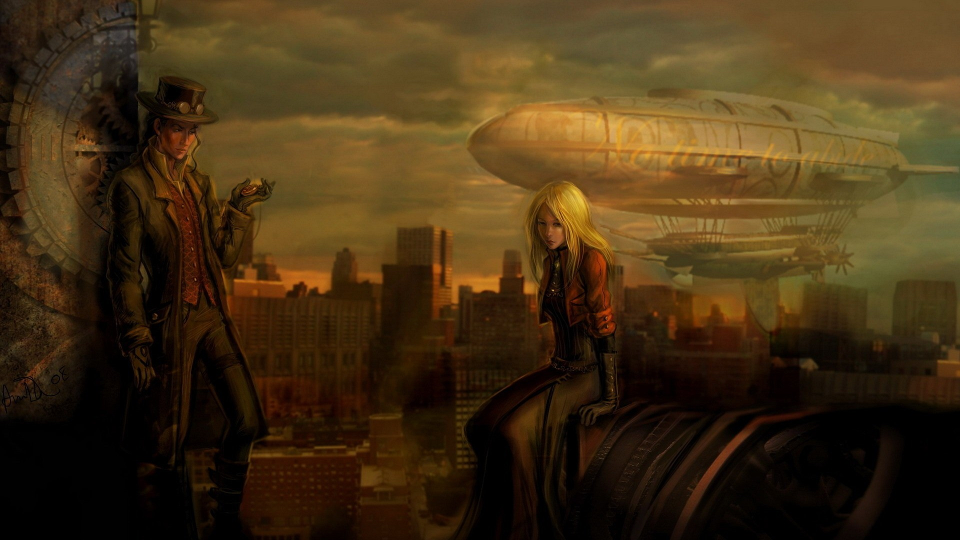 cityscapes steampunk vehicles airship HD Wallpaper