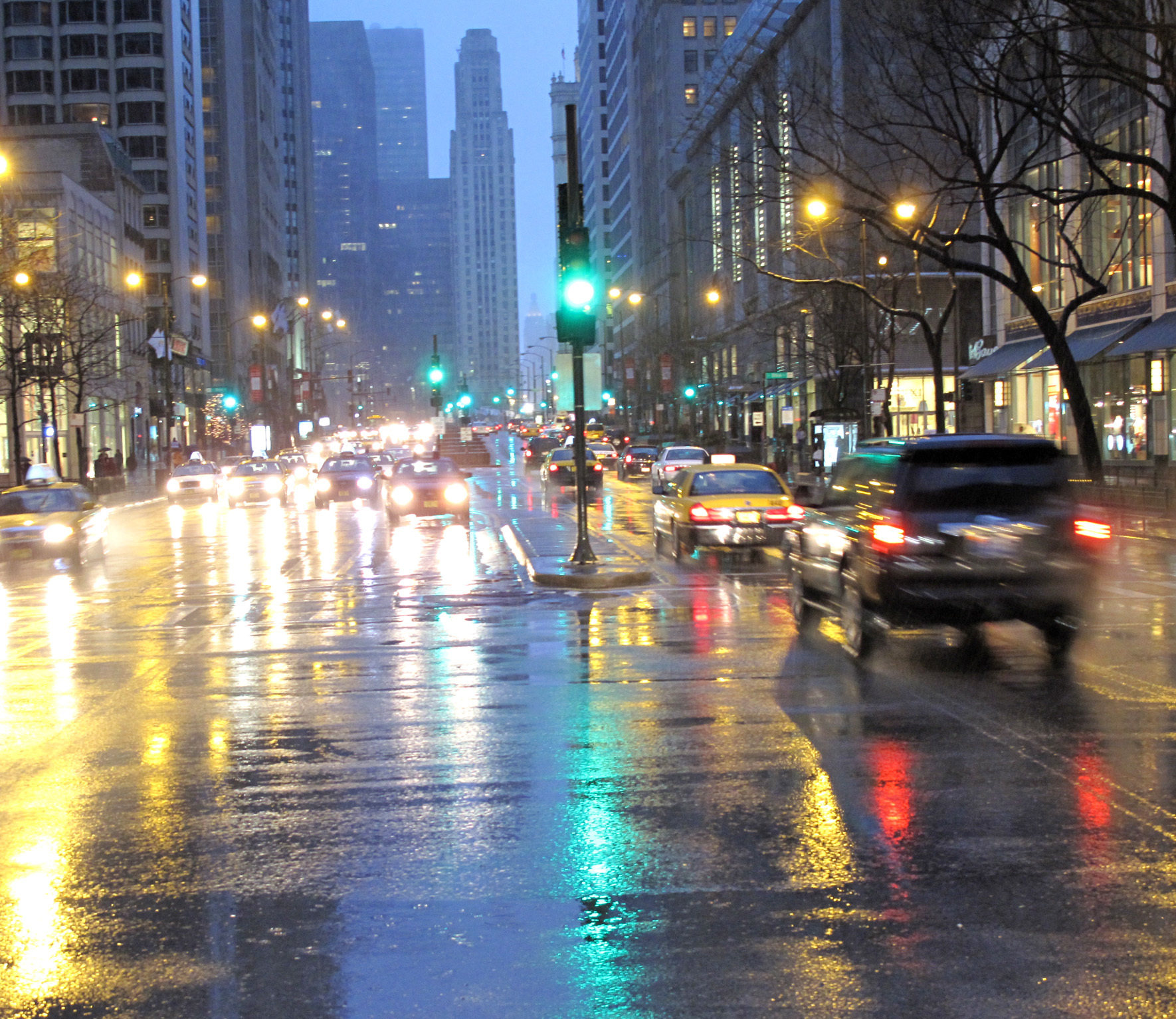 cityscapes streets rain cars HD Wallpaper