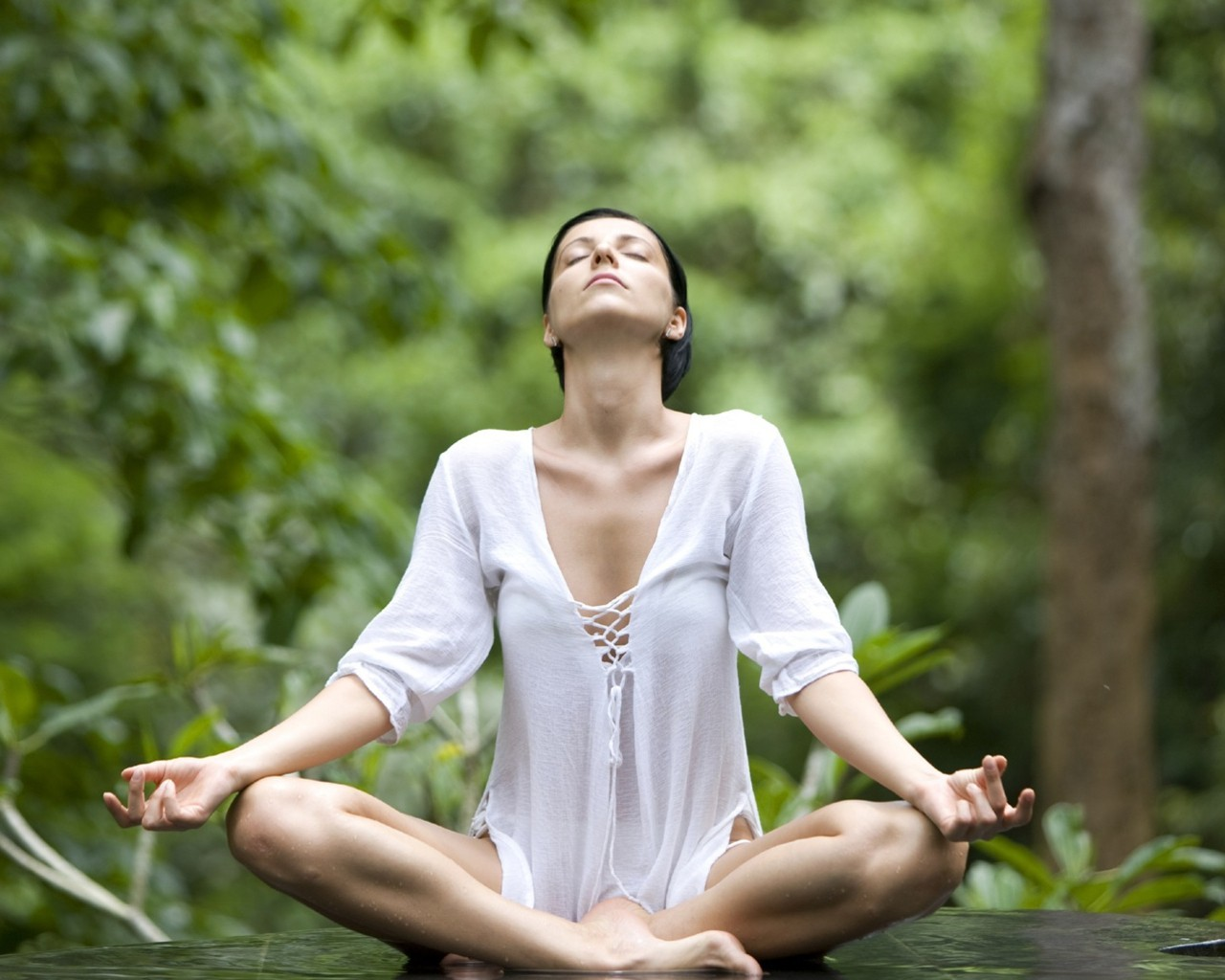 closed eyes yoga HD Wallpaper