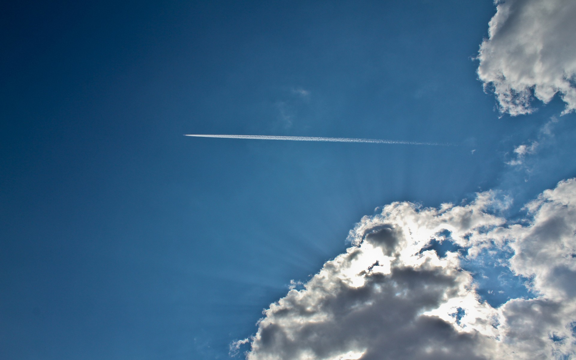 clouds Aircraft contrails skyscapes HD Wallpaper