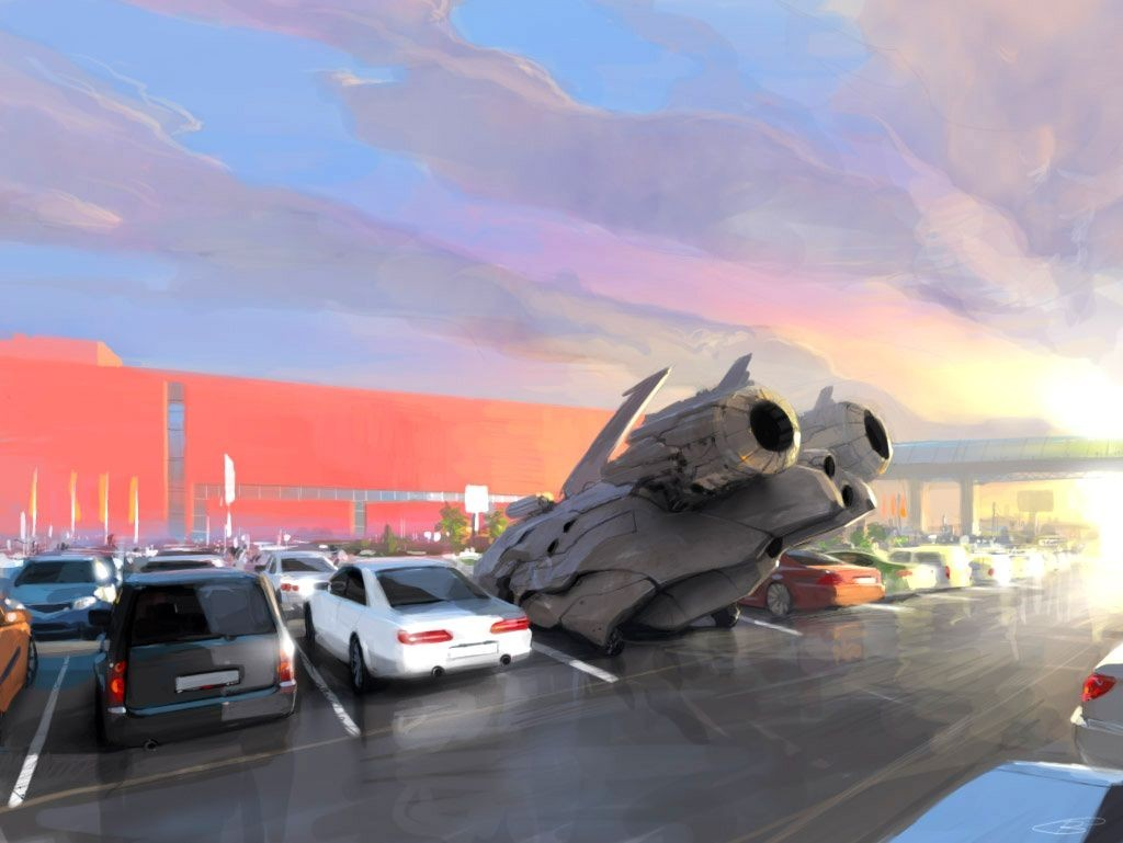 clouds cityscapes futuristic cars
