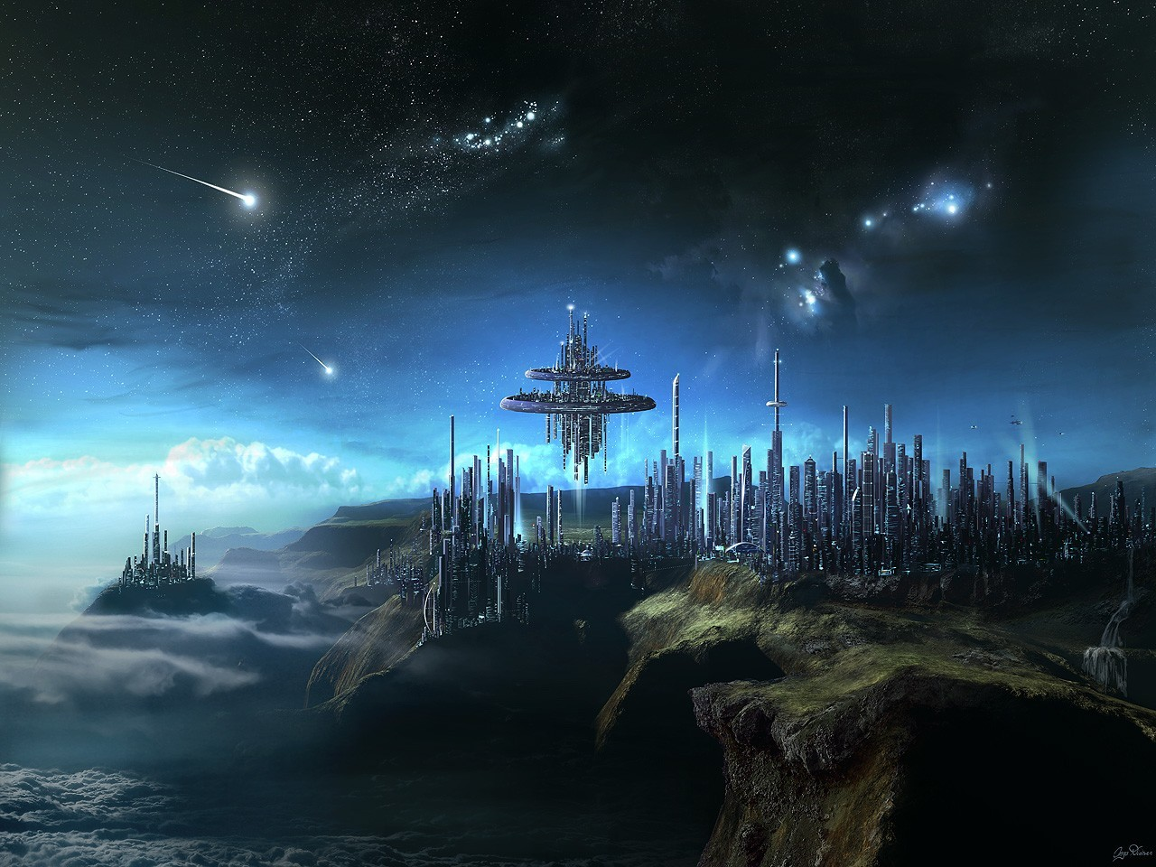 clouds cityscapes futuristic digital HD Wallpaper