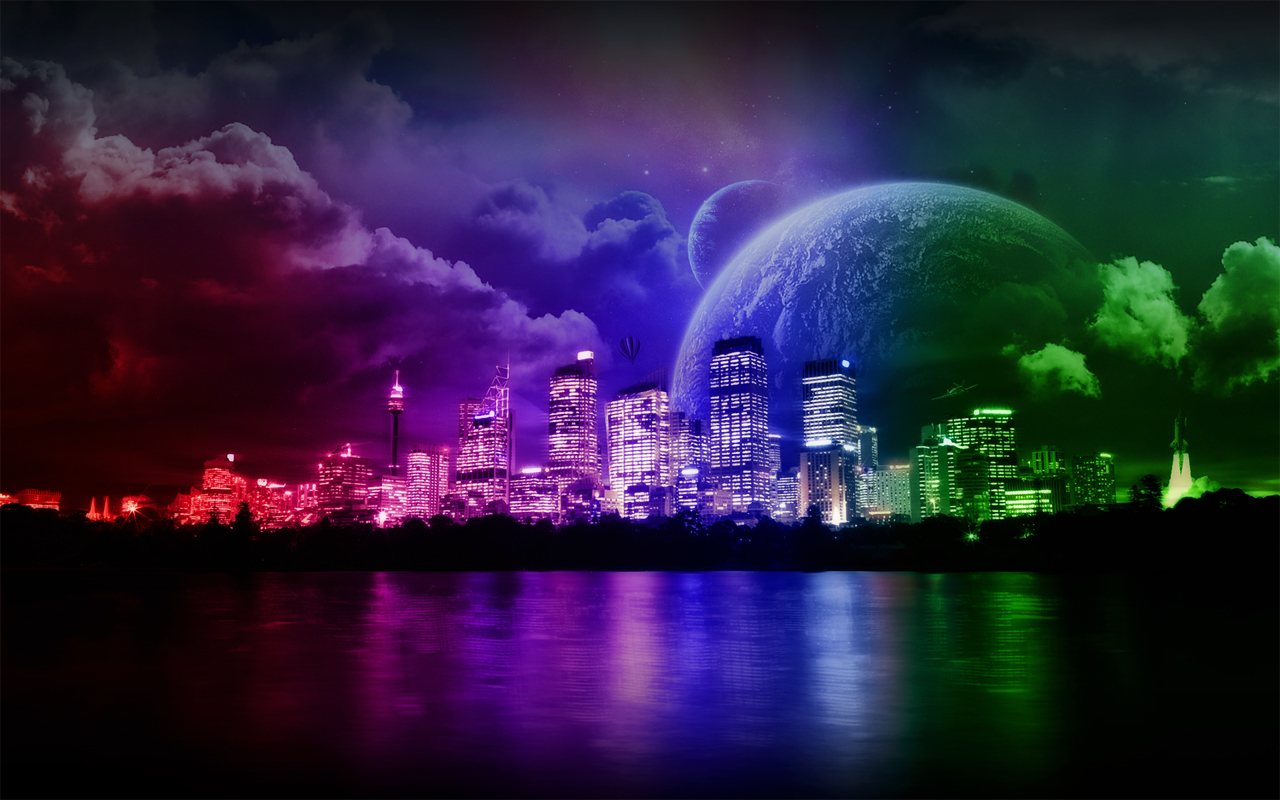 clouds cityscapes multicolor planets