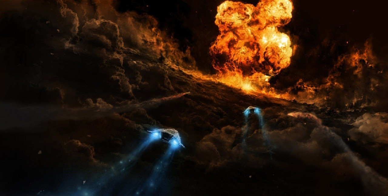 clouds futuristic explosions spaceships HD Wallpaper