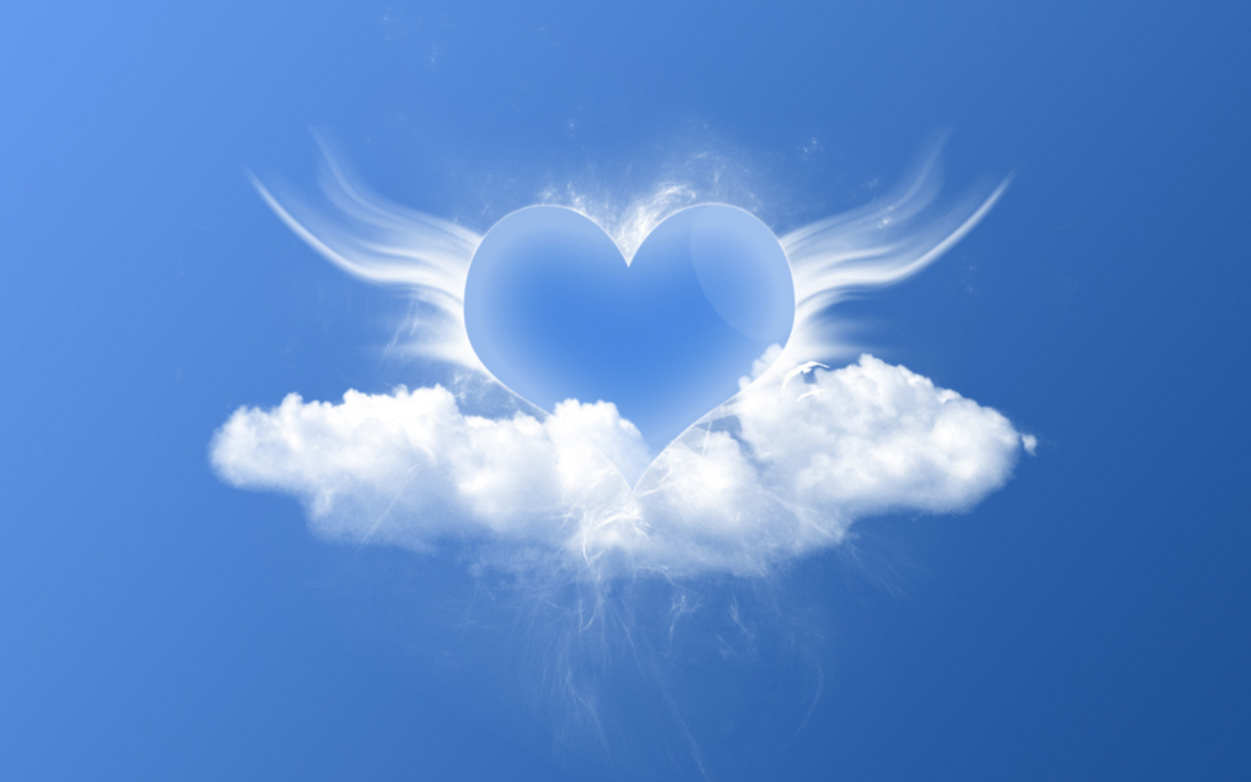 clouds Hearts blue background HD Wallpaper