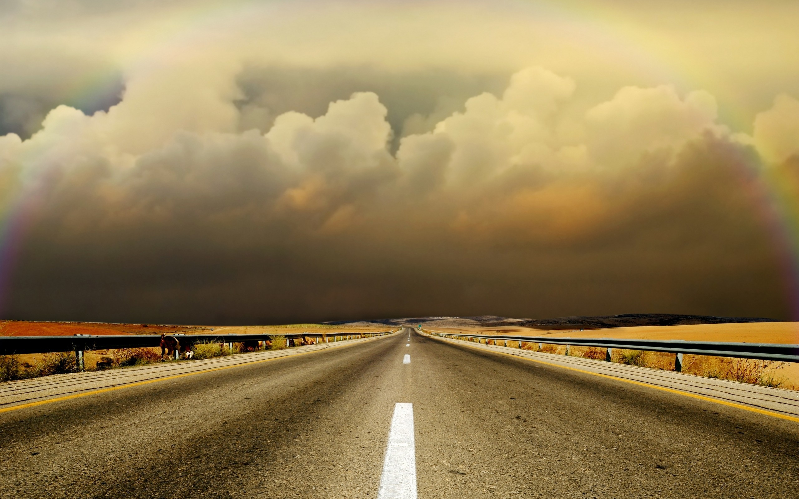 clouds Landscapes Highways roads HD Wallpaper