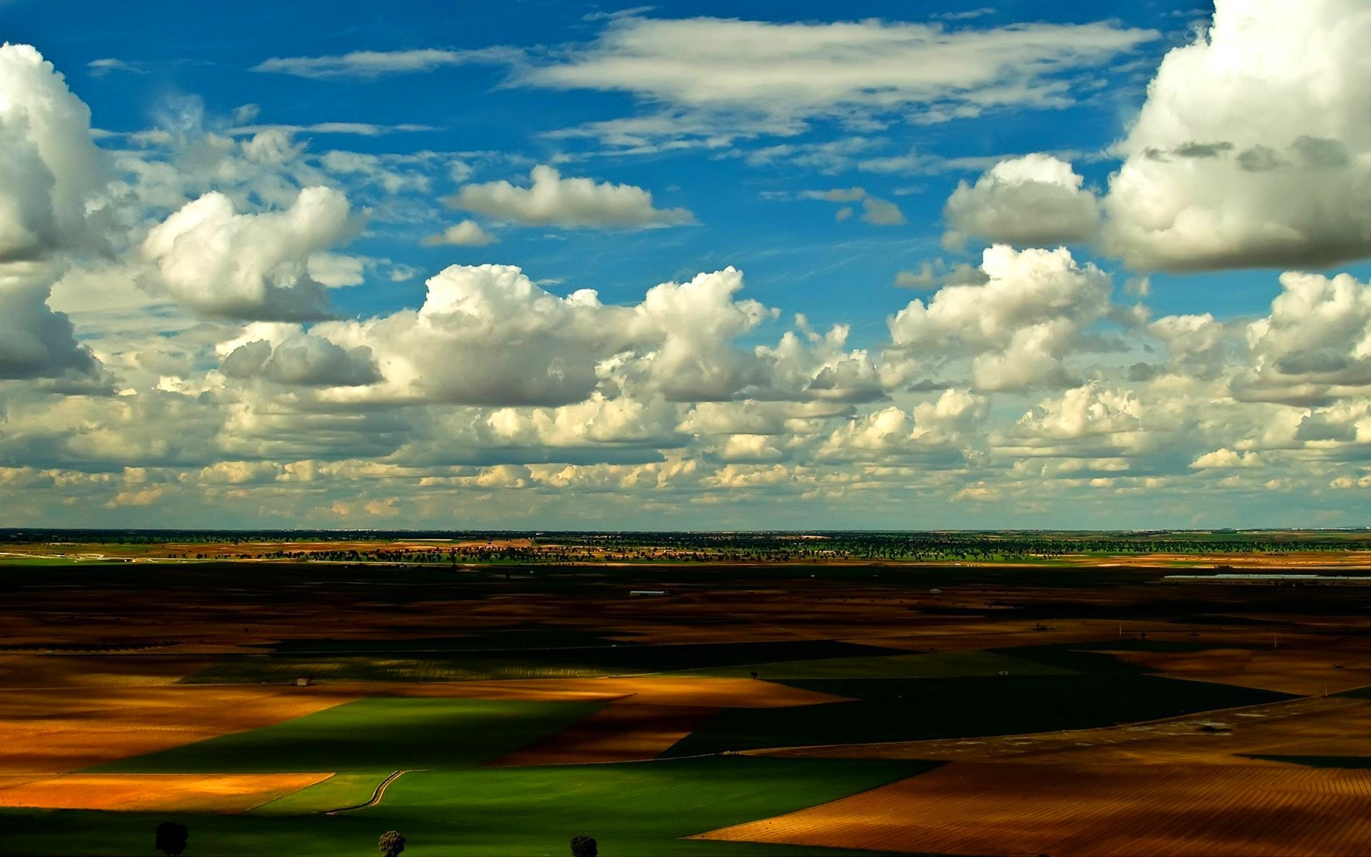 clouds Landscapes nature fields HD Wallpaper