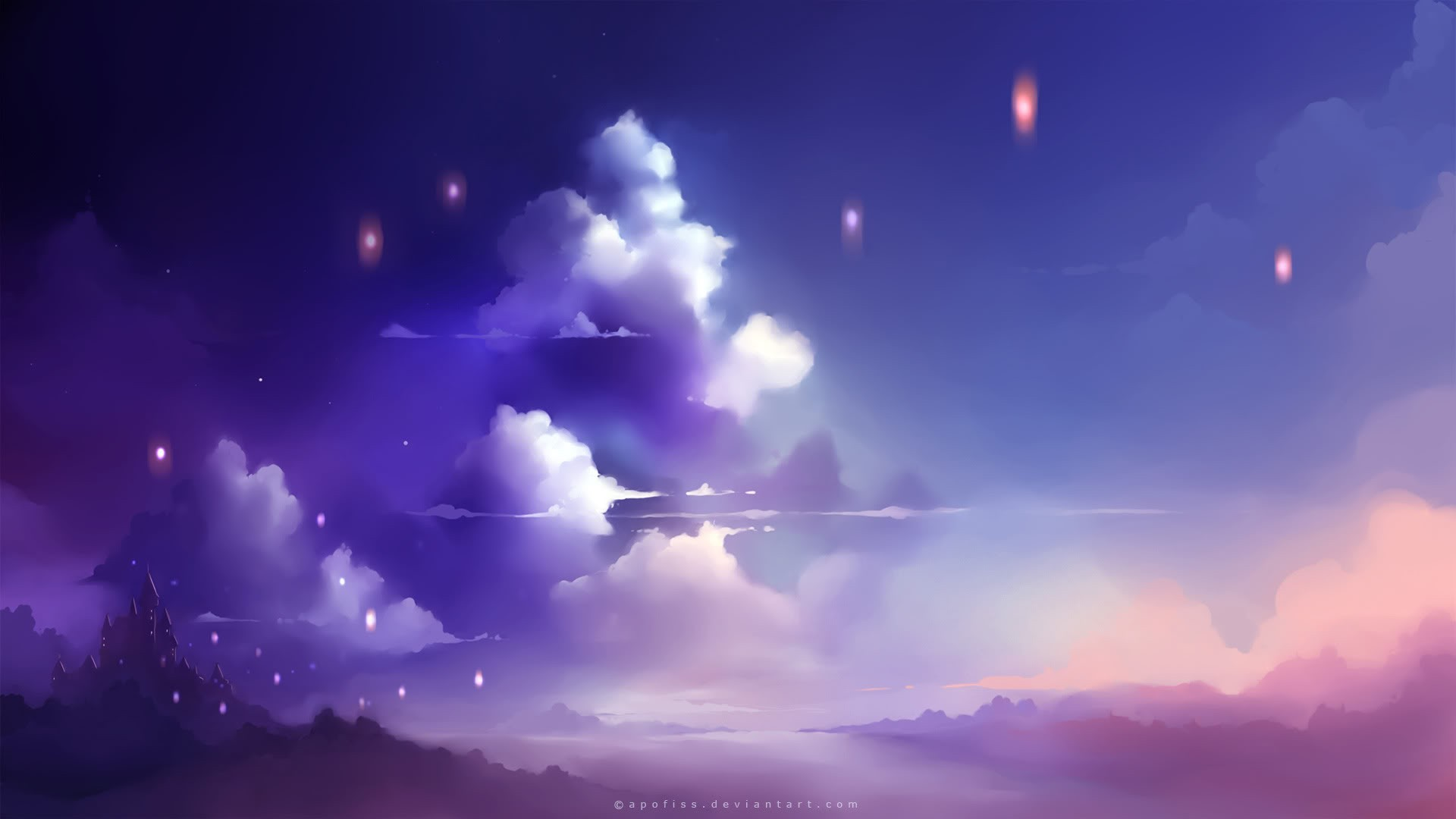 clouds lights artwork apofiss HD Wallpaper