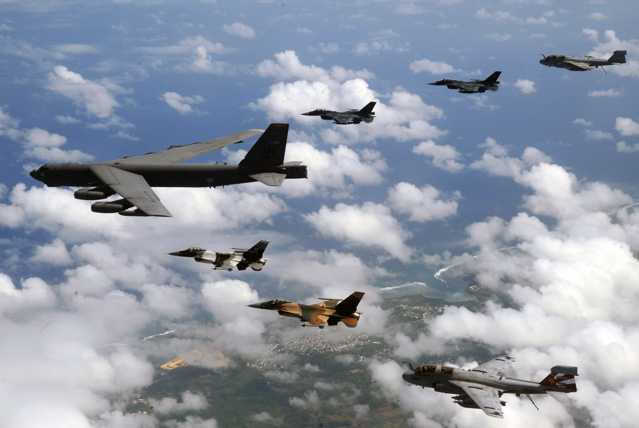 clouds military bomber B-52 HD Wallpaper