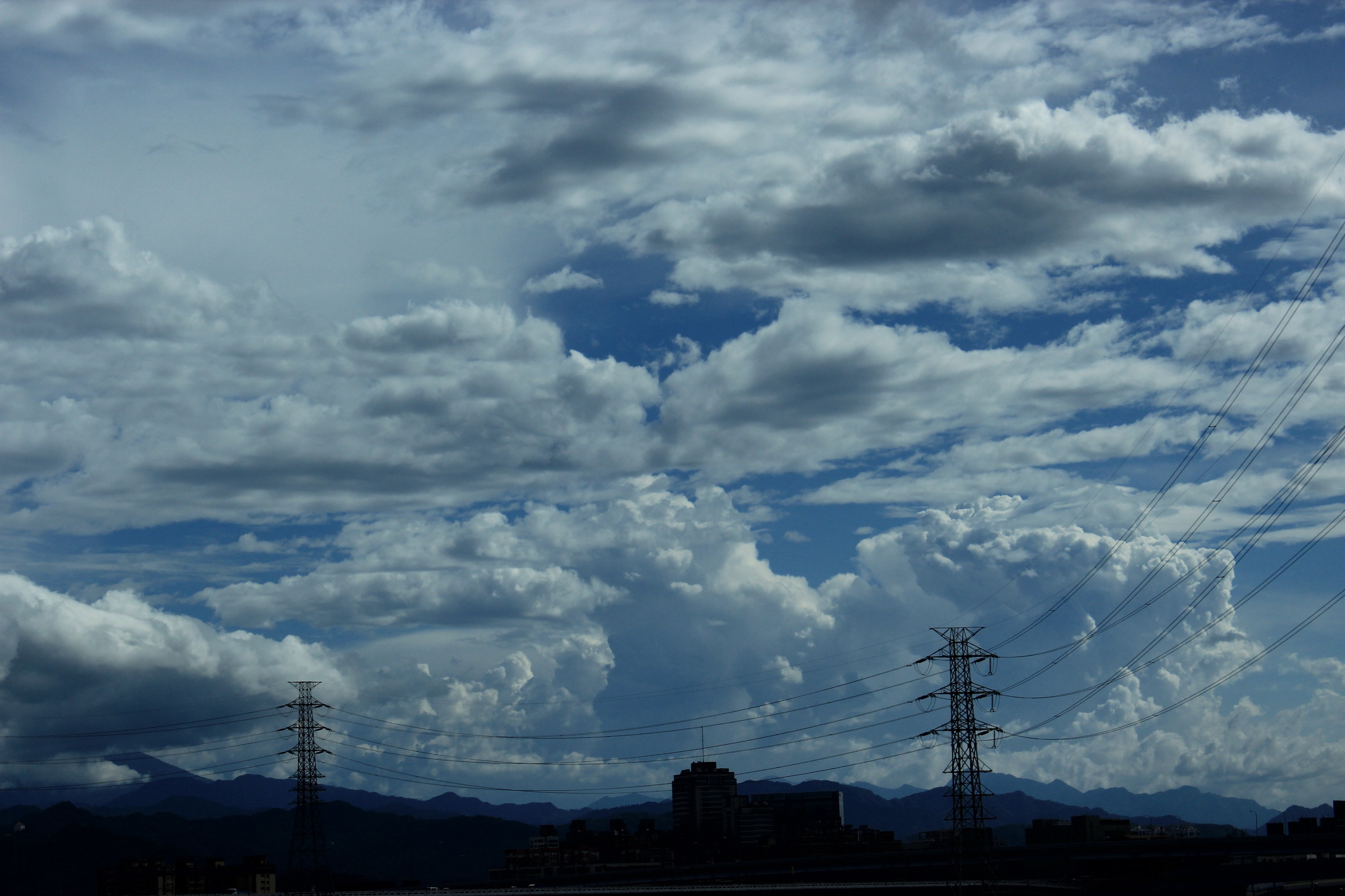 clouds power lines HD Wallpaper