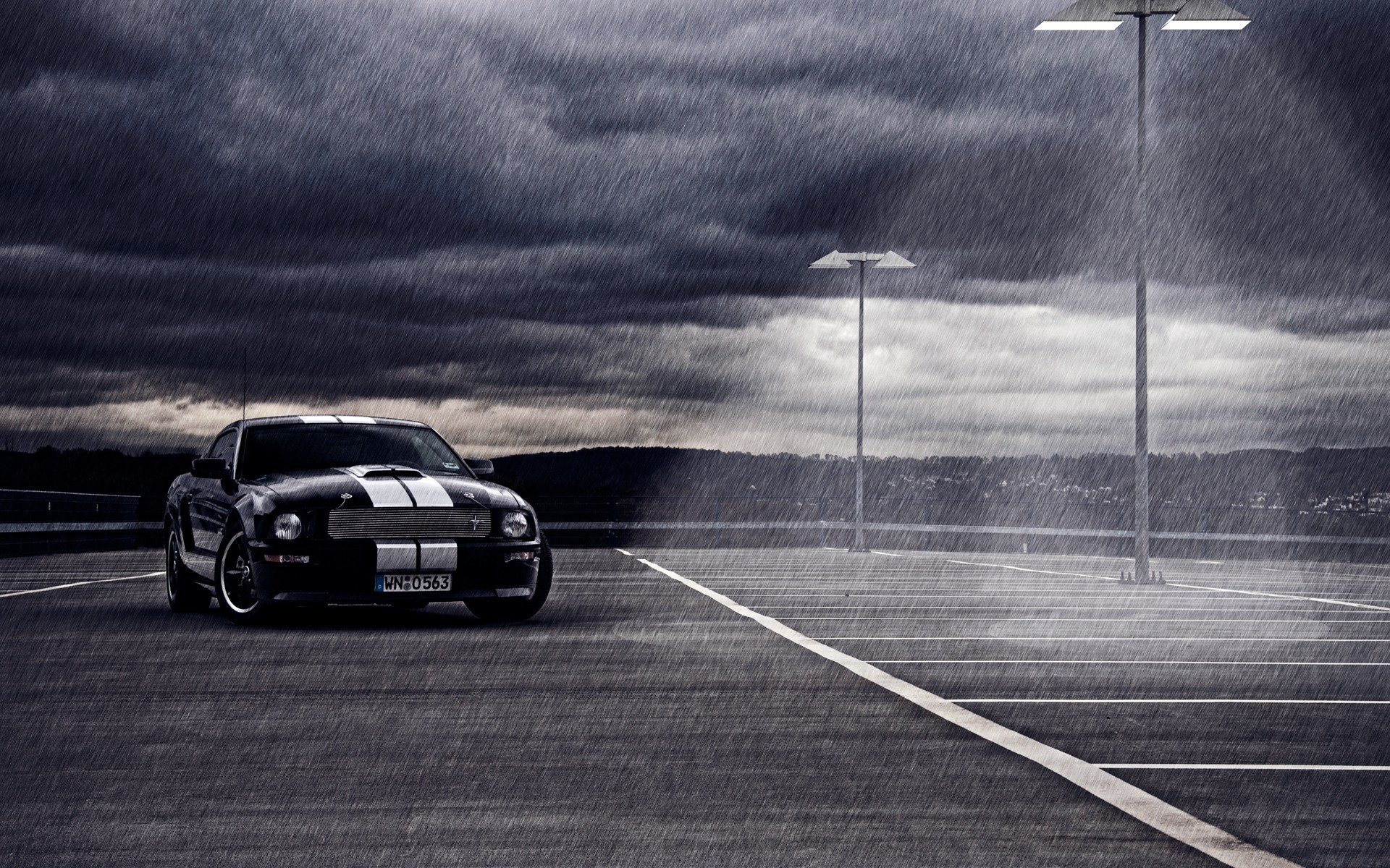 clouds rain cars vehicles Ford mustang HD Wallpaper