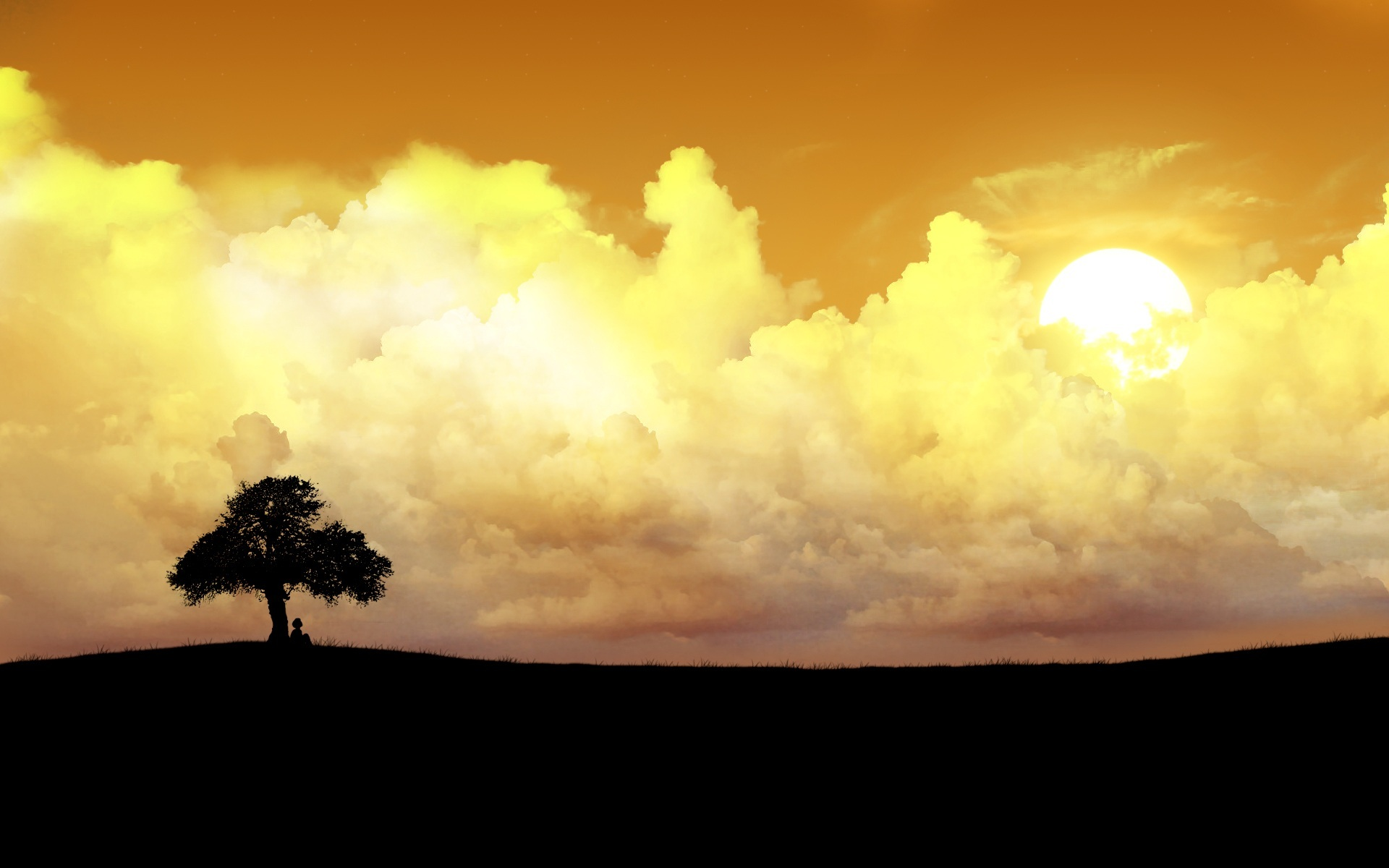 clouds silhouette nature HD Wallpaper