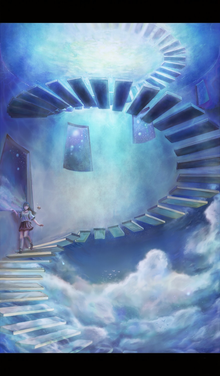 clouds stairways fantasy art HD Wallpaper