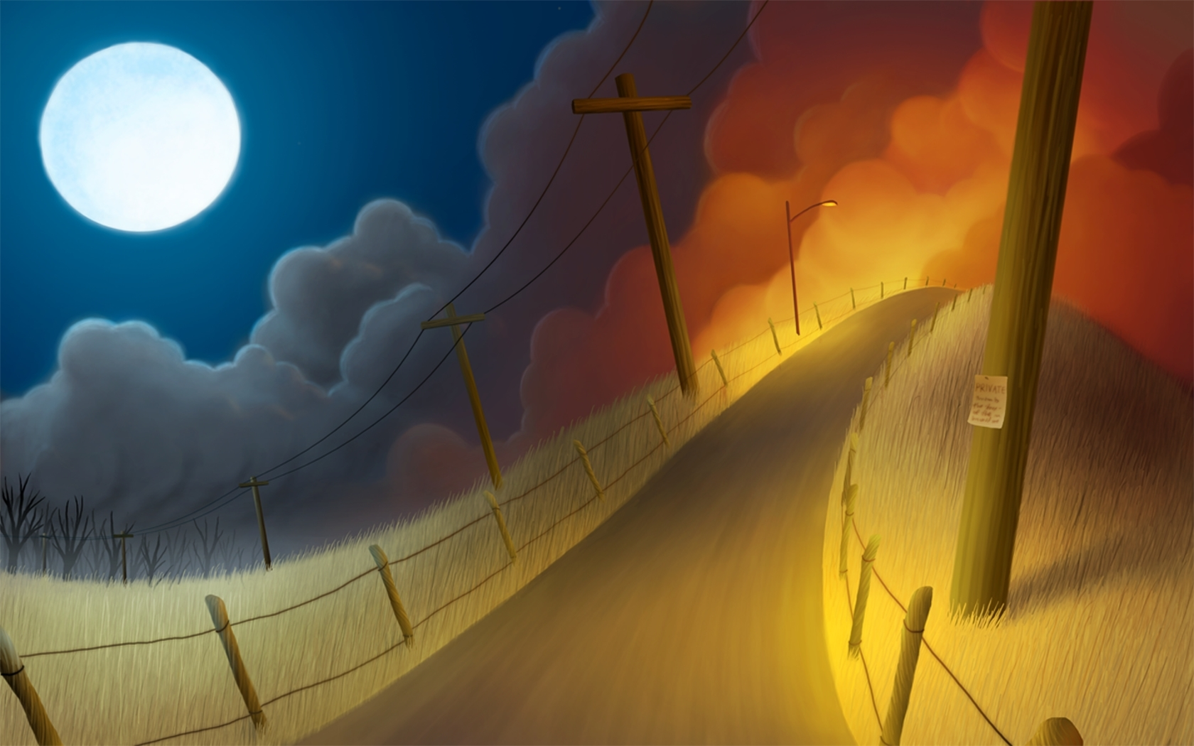 clouds streets moon electric HD Wallpaper