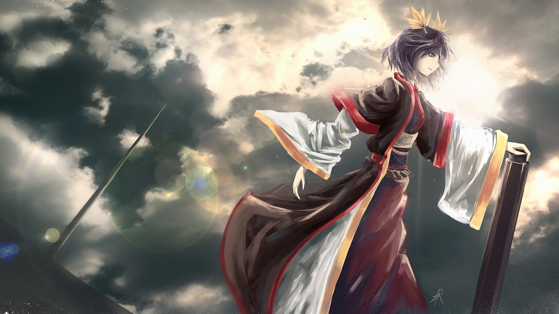 clouds touhou leaves goddess HD Wallpaper