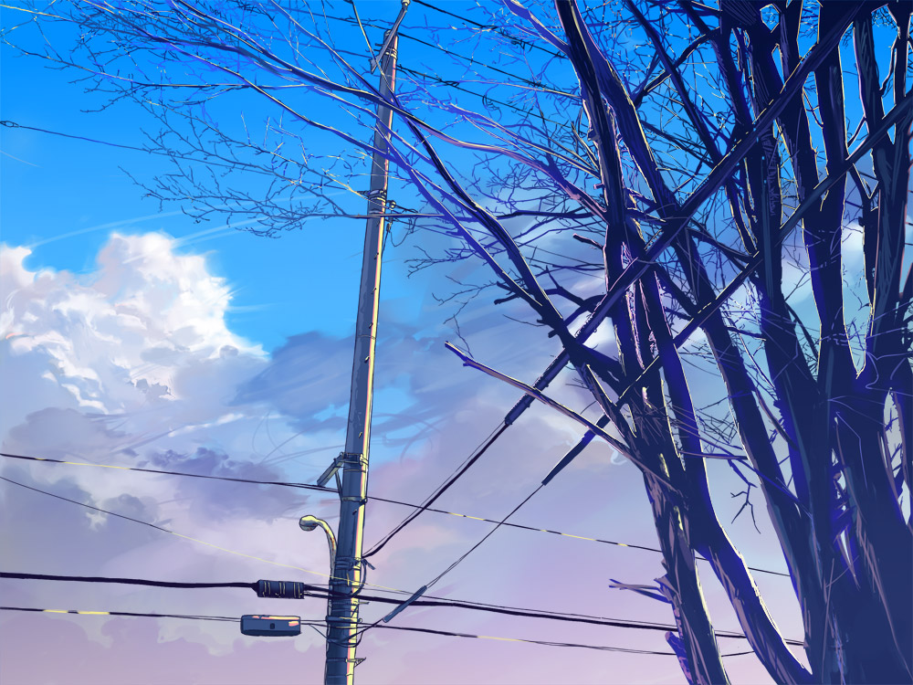 clouds Trees power lines HD Wallpaper