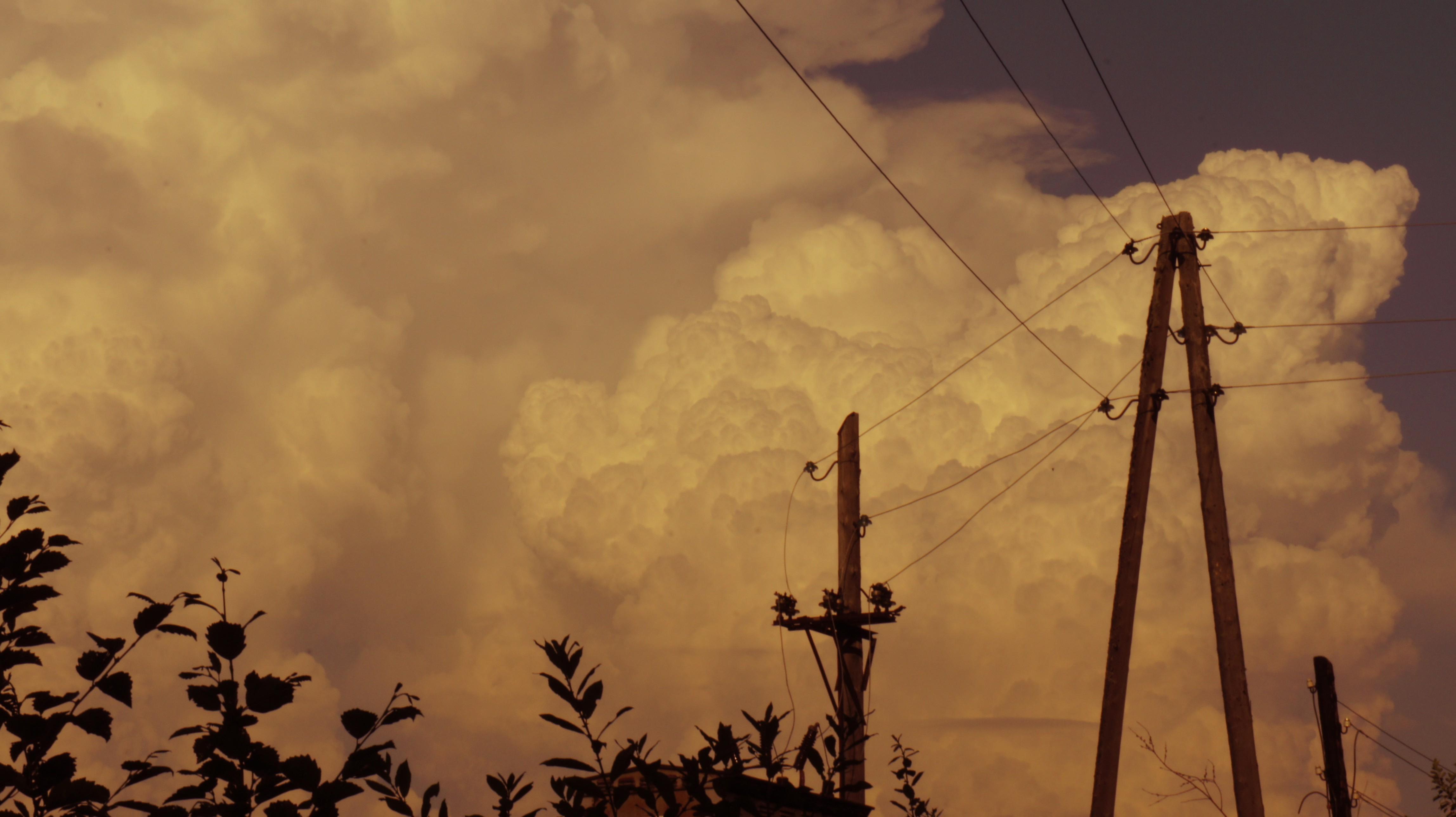 clouds wires transmission line HD Wallpaper
