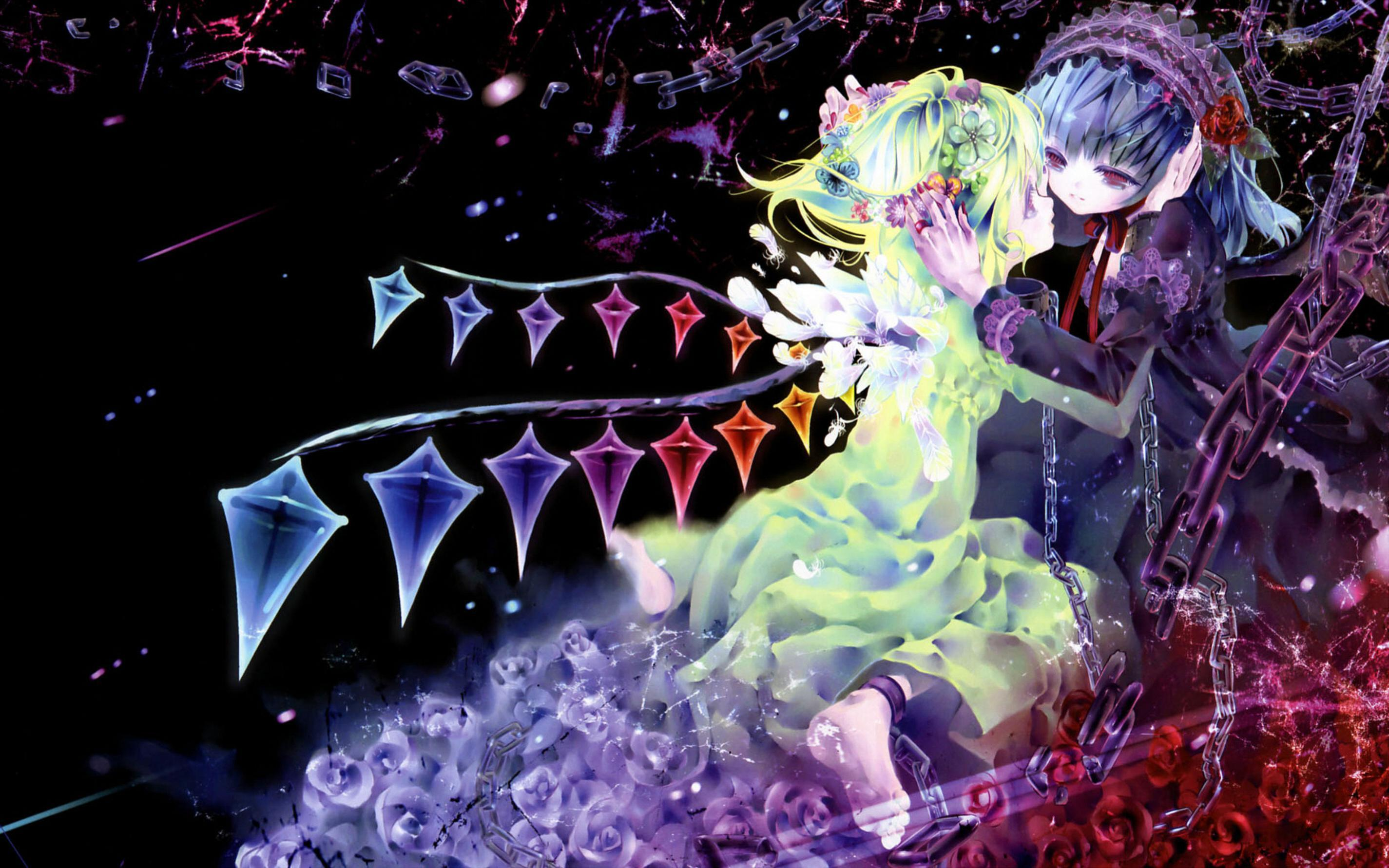 colourful Anime background mirrored HD Wallpaper