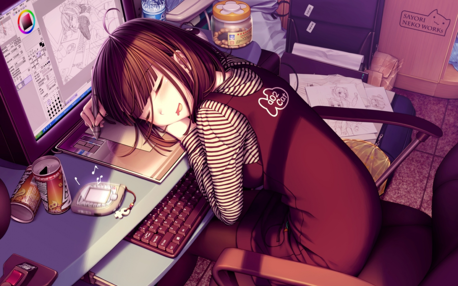 Computers sleeping graphics tablets HD Wallpaper