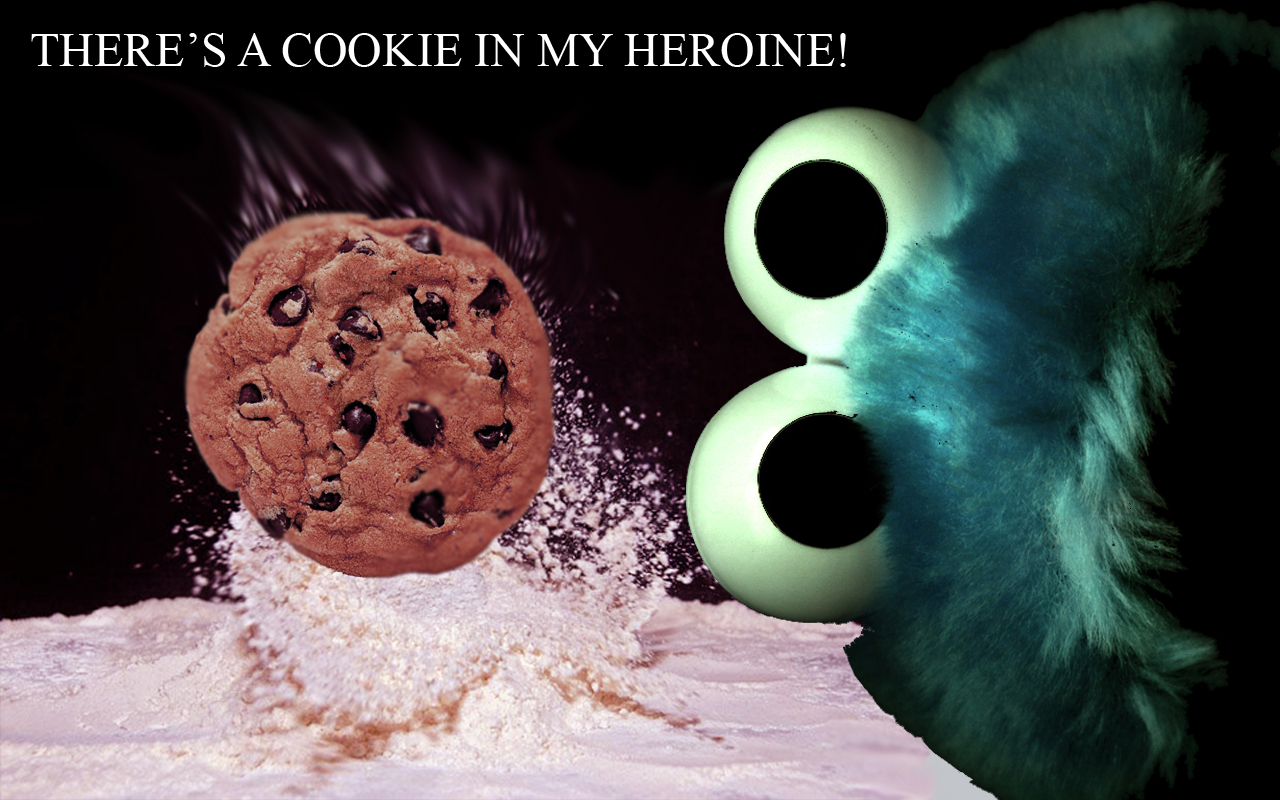 Cookie Monster heroine misspelling HD Wallpaper