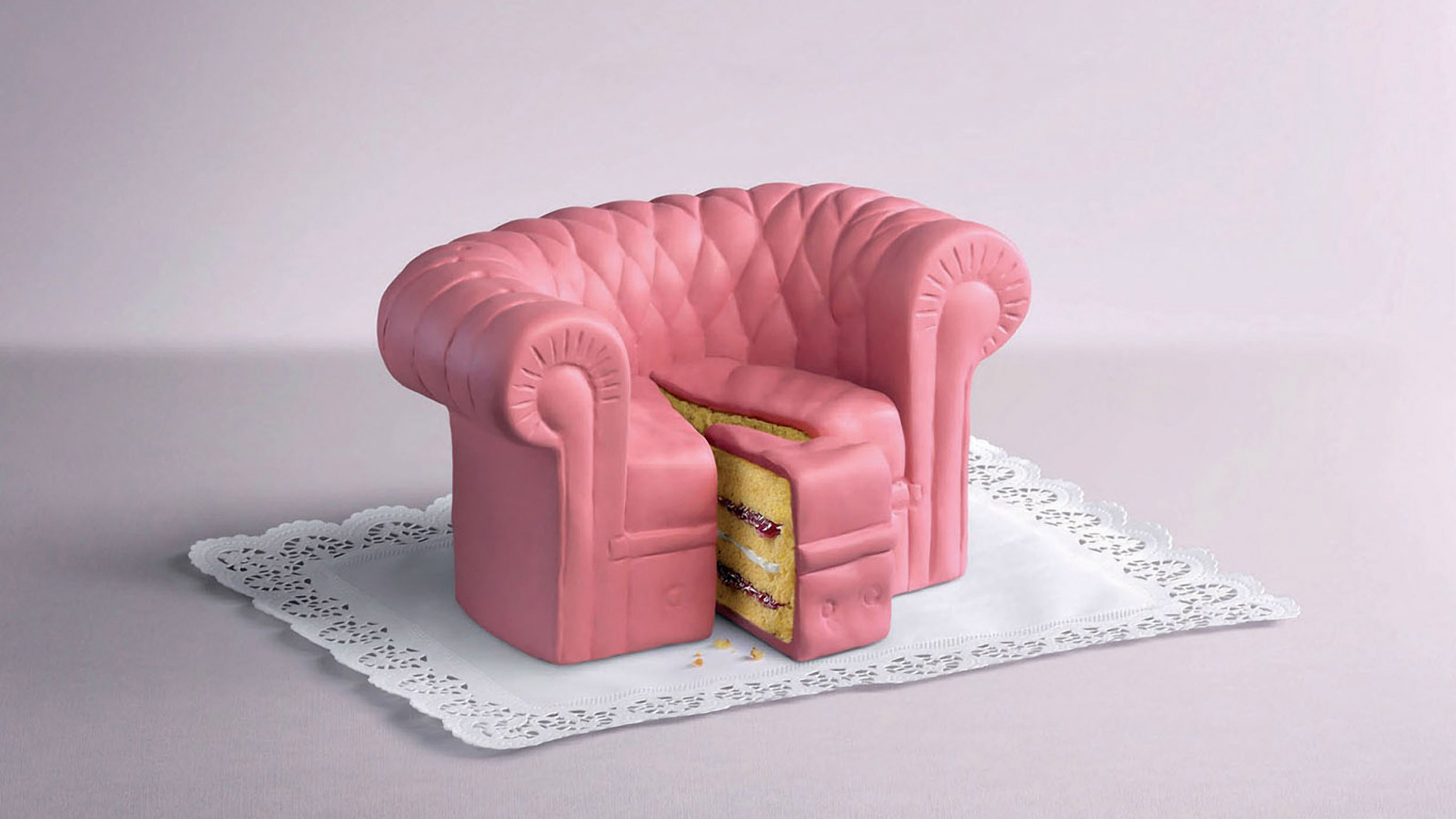 couch food cgi dessert HD Wallpaper