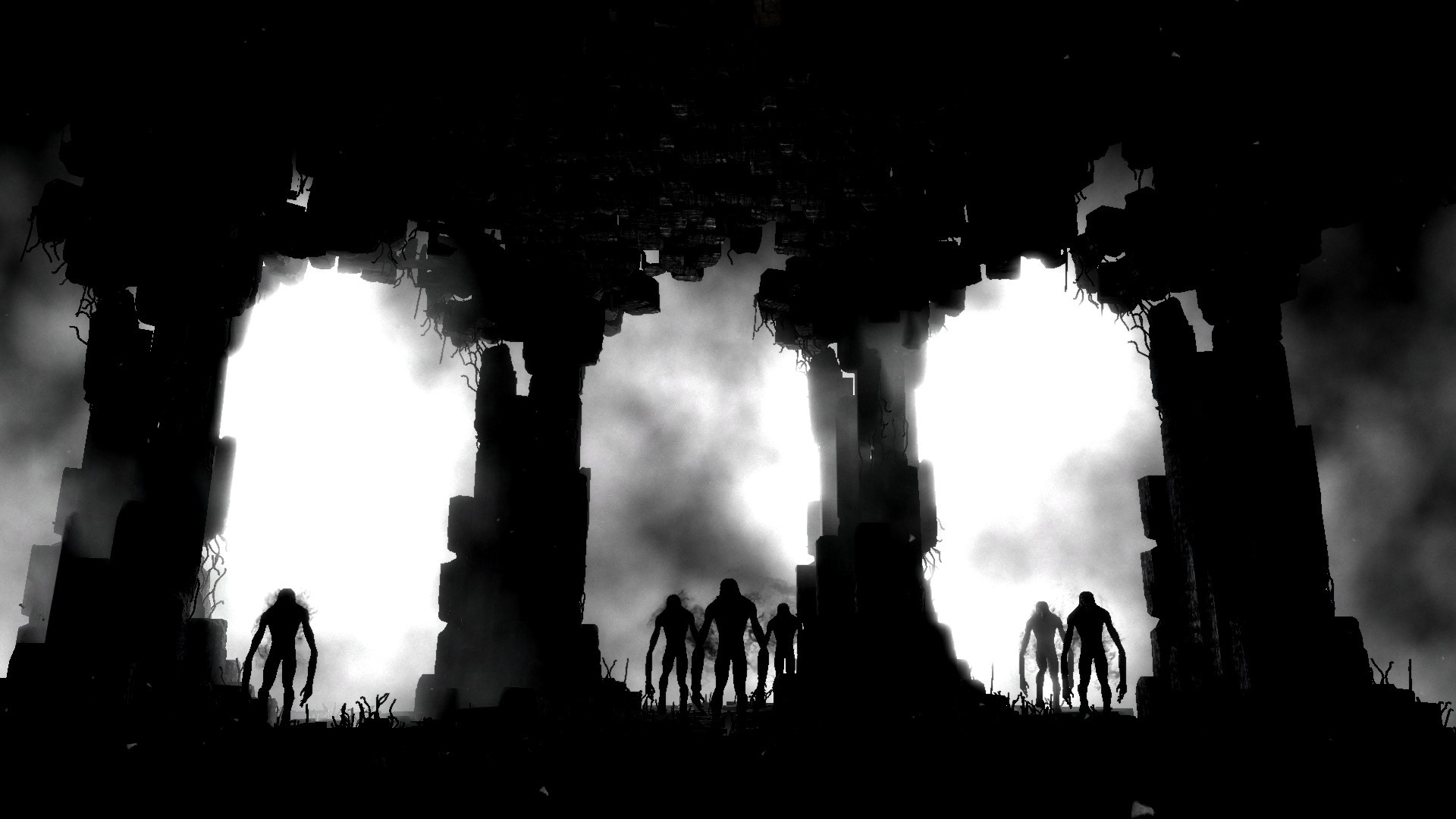 creepy silhouettes monochrome metro HD Wallpaper