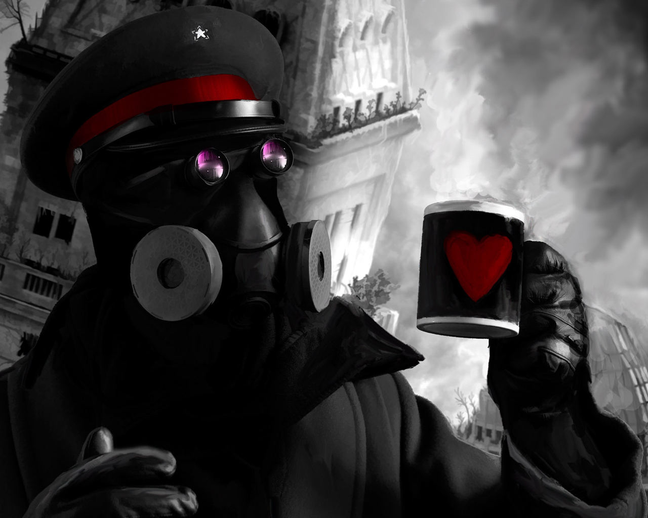 cups gas masks Hearts HD Wallpaper