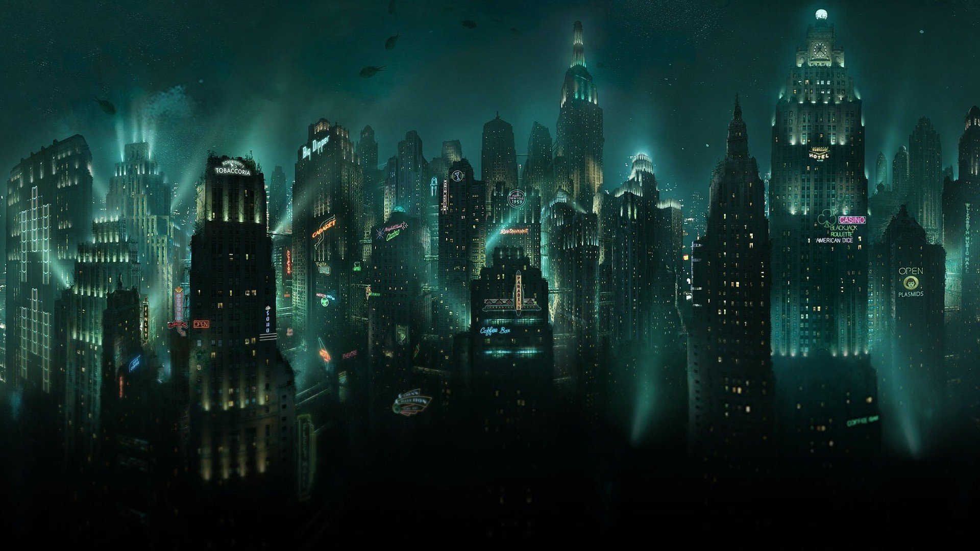 dark bioshock night towns HD Wallpaper
