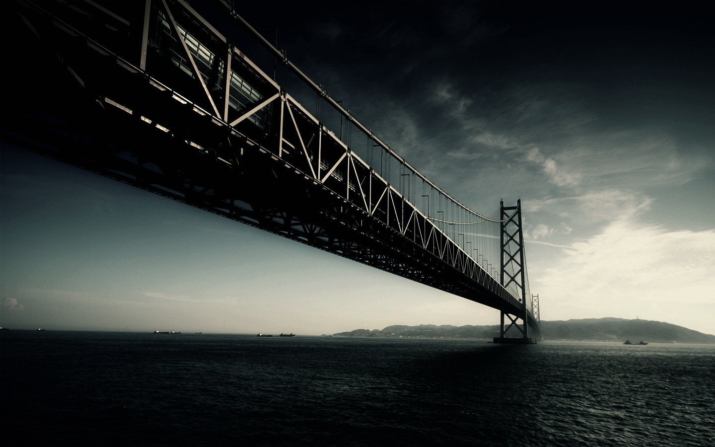 dark Bridges suspension bridge HD Wallpaper