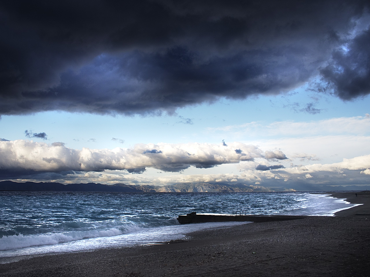 dark clouds Sea water HD Wallpaper